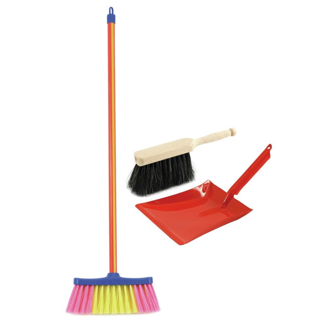 Speelgoed schoonmaak set stoffer en blik rood met gekleurde bezem -