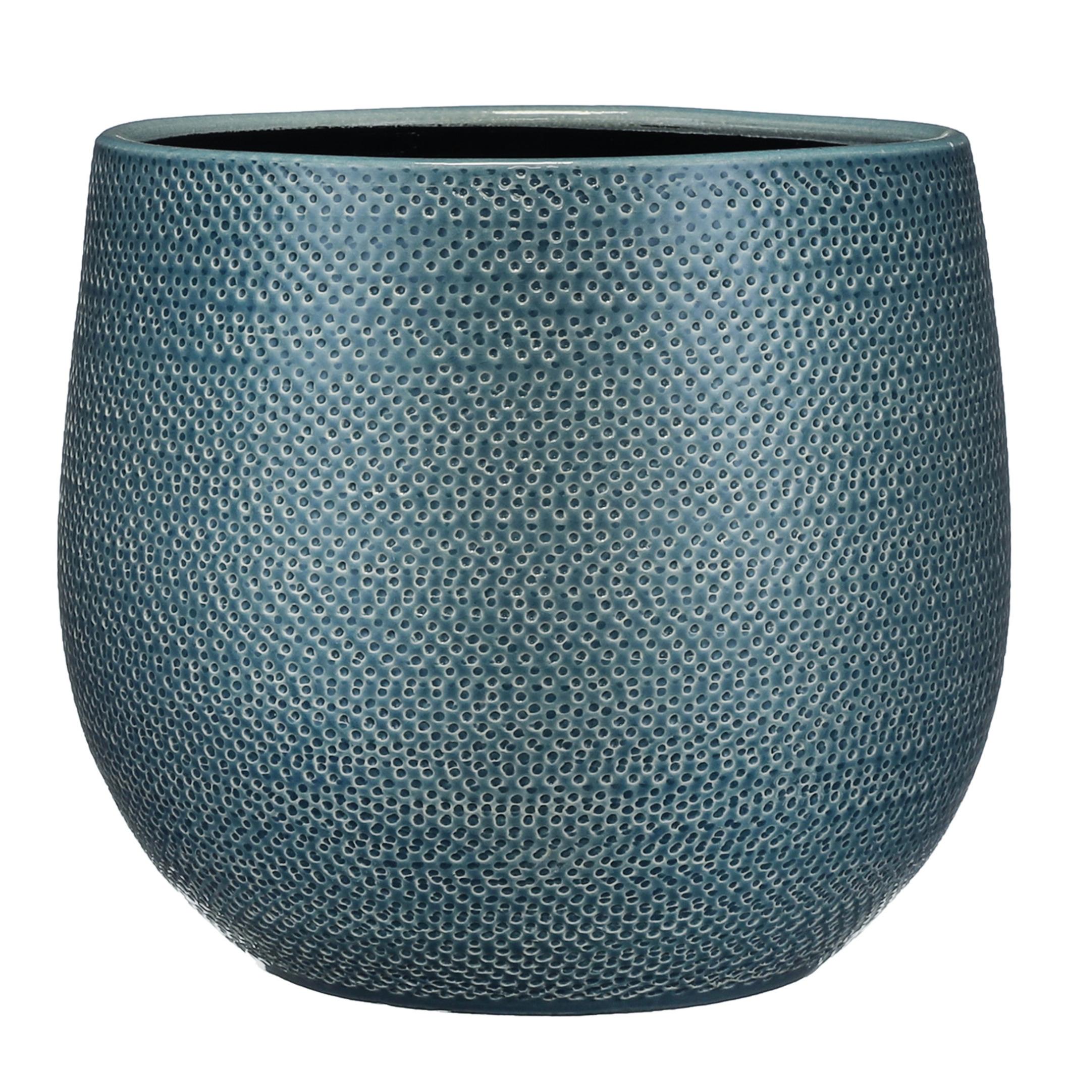 Bloempot midnight blauw ribbels keramiek voor kamerplant H25 x D29 cm -