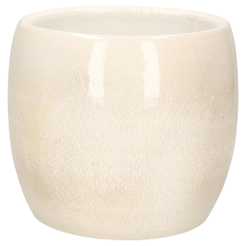 Bloempot in het shiny lightgrey stone keramiek voor kamerplant H14 x D16 cm -