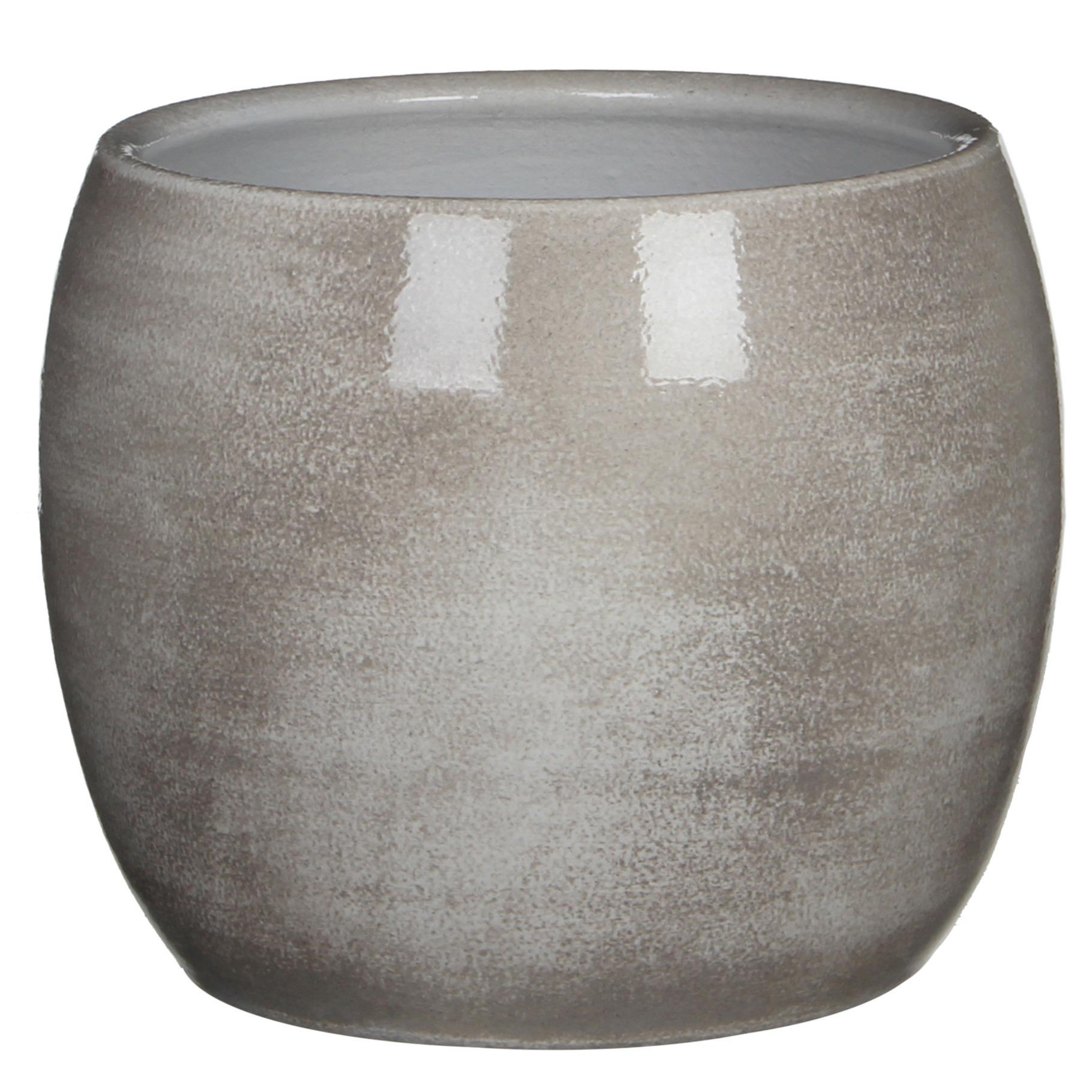 Bloempot in het shiny lightgrey stone keramiek voor kamerplant H18 x D20 cm -