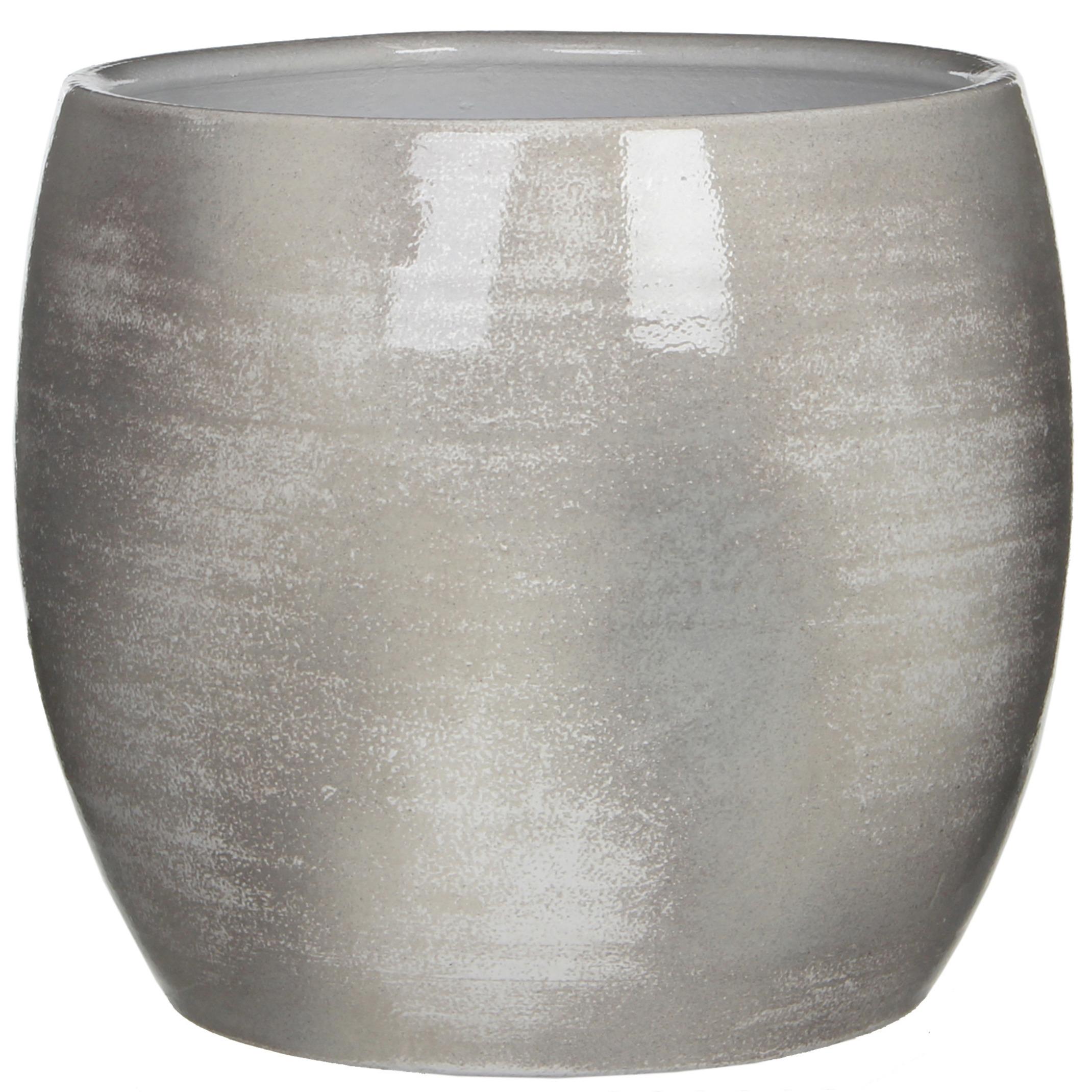 Bloempot in het shiny lightgrey stone keramiek voor kamerplant H26 x D28 cm -