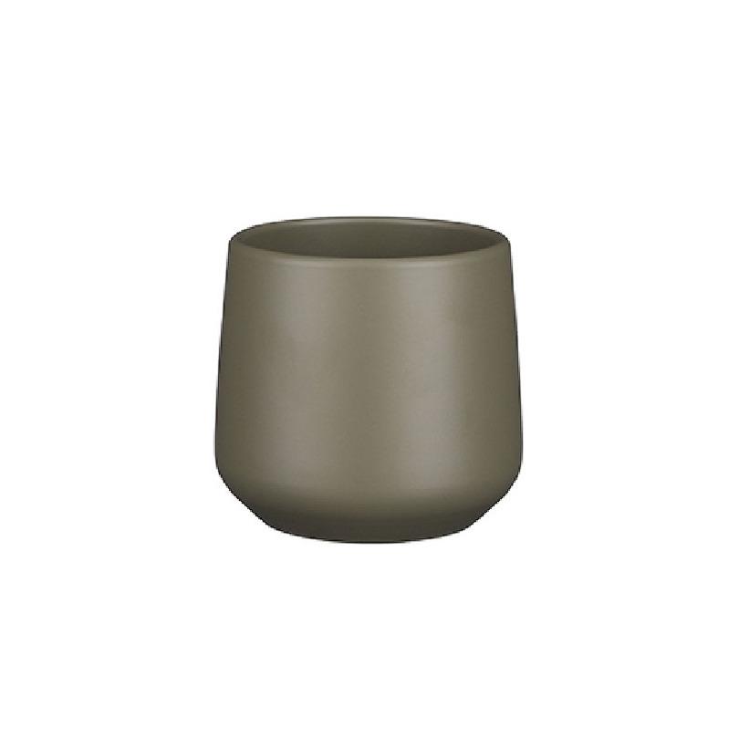 Bloempot mat donkergroen keramiek voor kamerplant H13.5 x D14 cm -