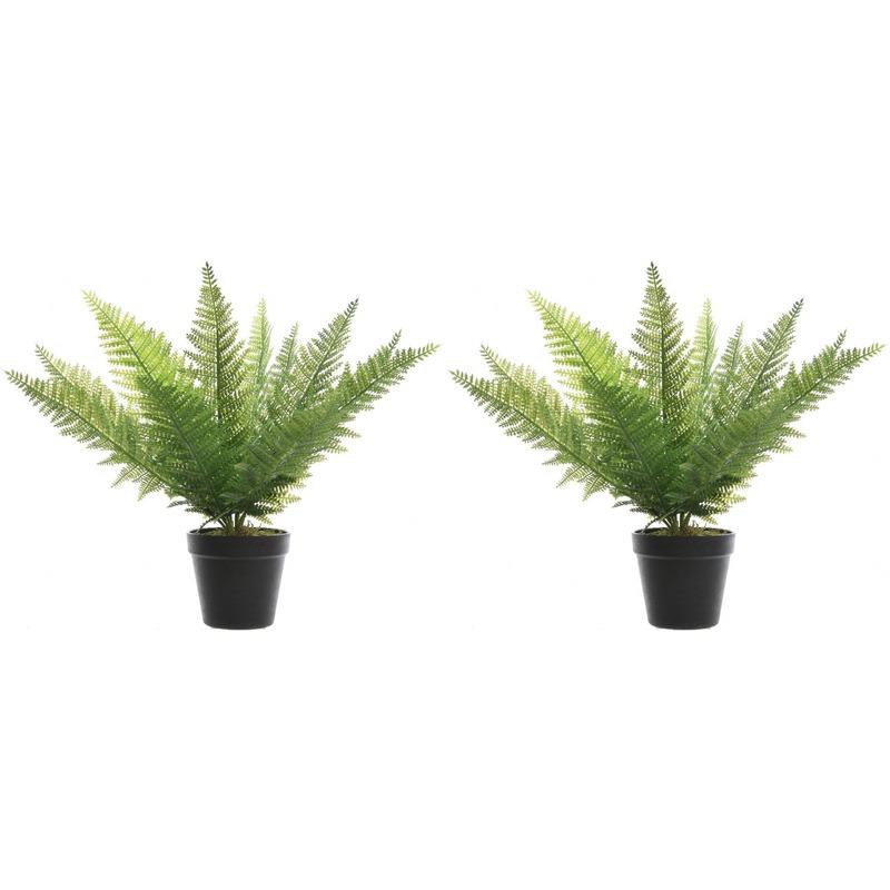 2x Groene adelaarsvaren kunstplanten 48 cm in zwarte pot -