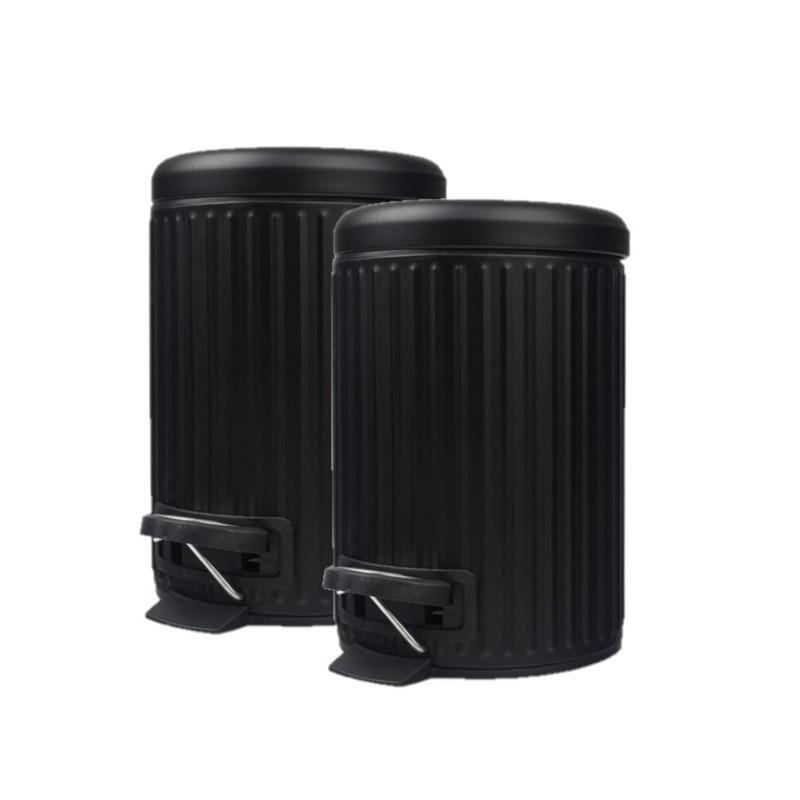 2x stuks pedaalemmers/vuilnisbakken 3 liter zwart -