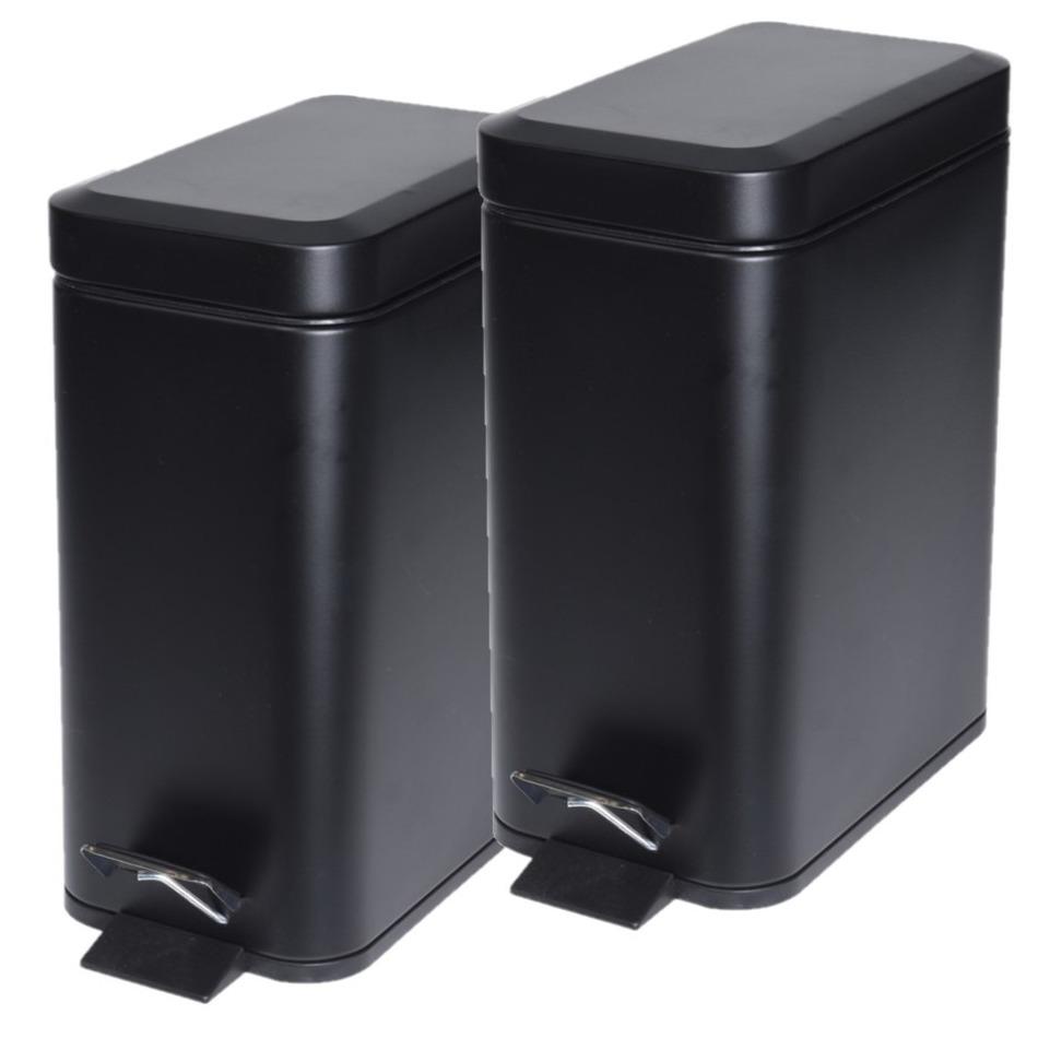 2x stuks zwarte vuilnisbakken/pedaalemmers 5 liter -