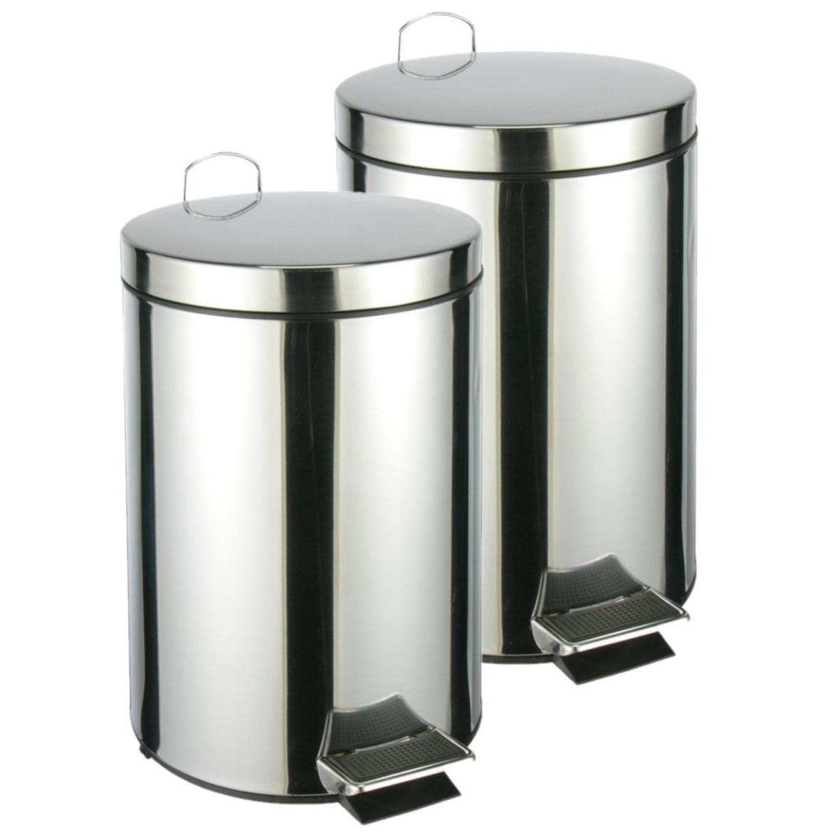 2x stuks RVS pedaalemmers/vuilnisbakken 40 cm 12 liter -
