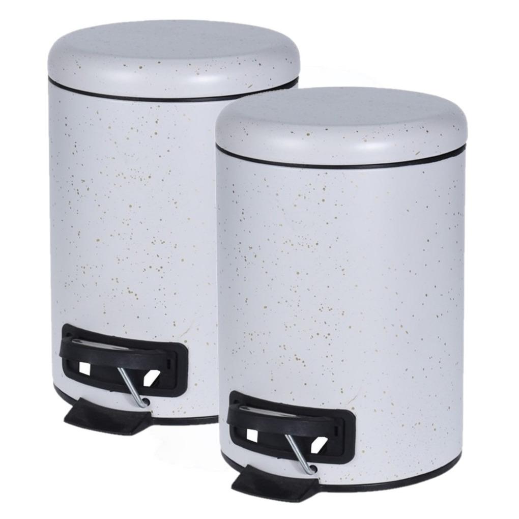 3x stuks witte vuilnisbakken/pedaalemmers met spikkels 3 liter -