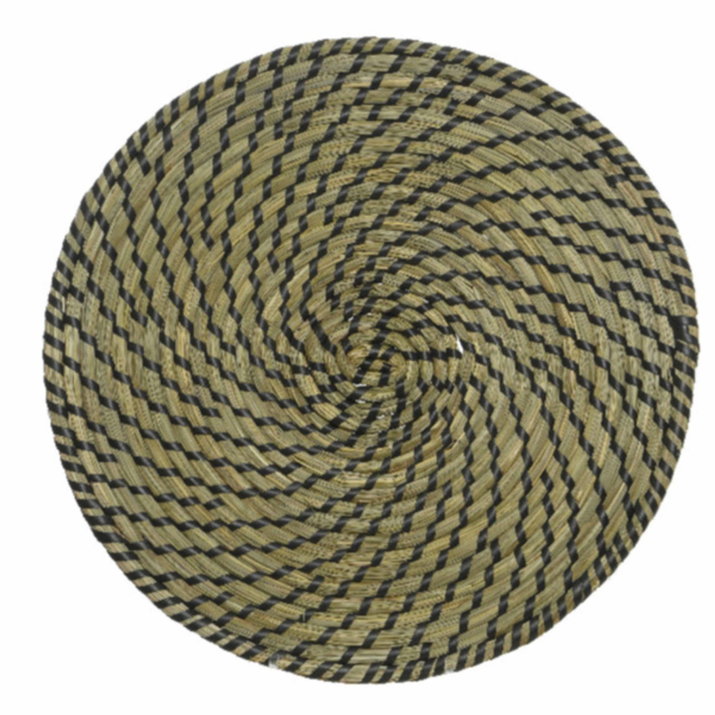 Placemats rond groen/zwart zeegras 38 cm -