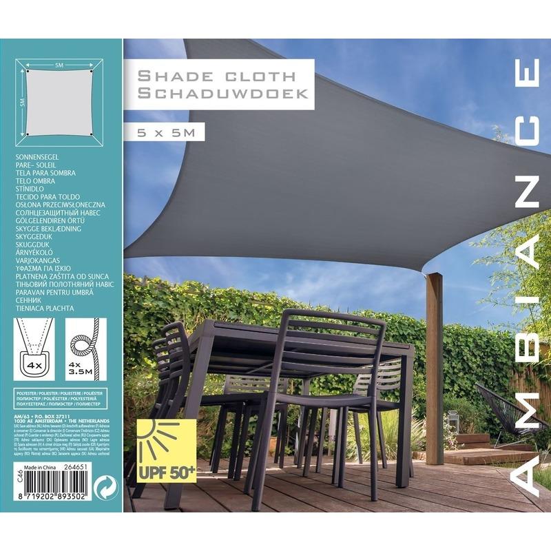 Schaduwdoek/zonnescherm vierkant grijs 5 meter -