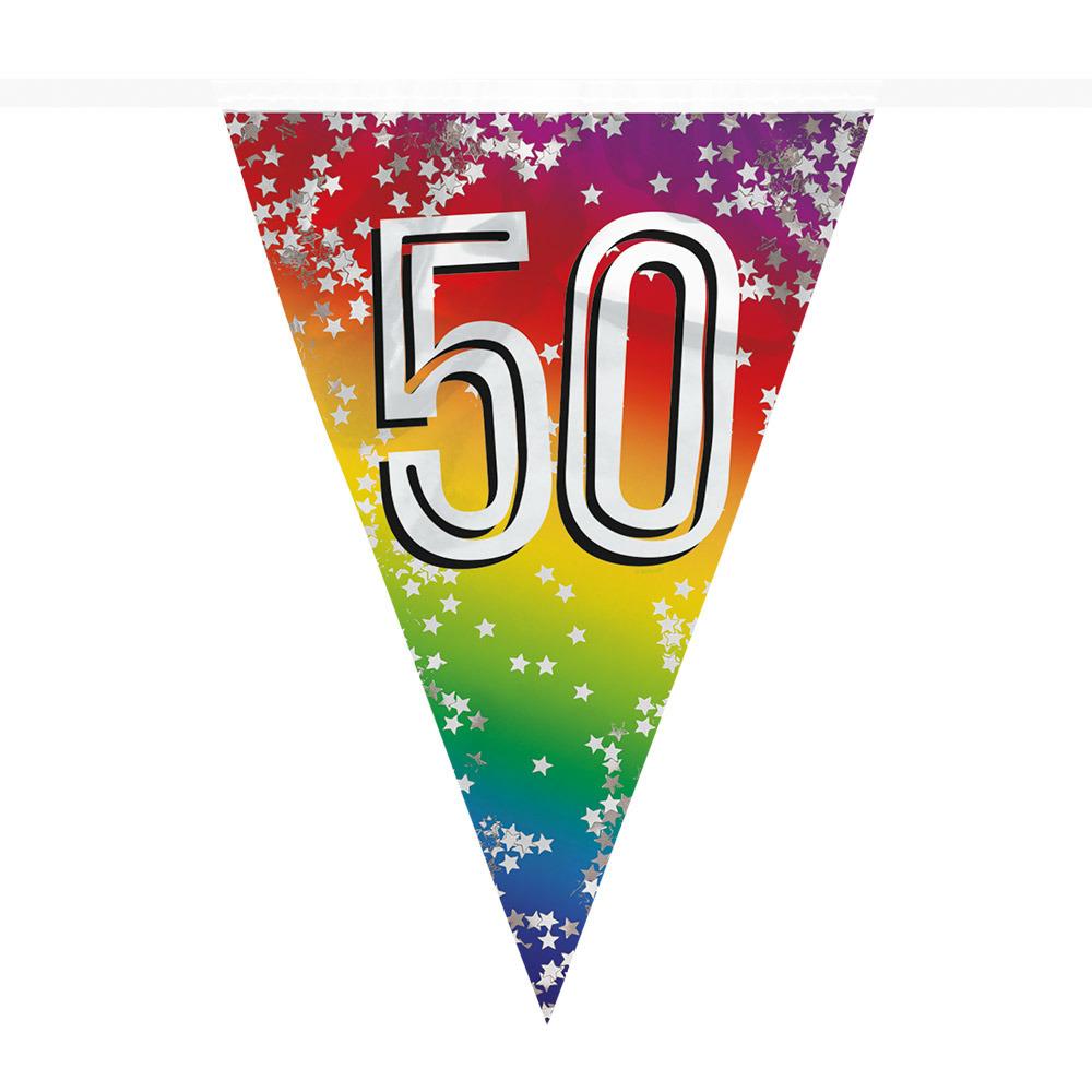 Vlaggenlijn 50 jaar versiering vlaggetjes slinger 6 meter -