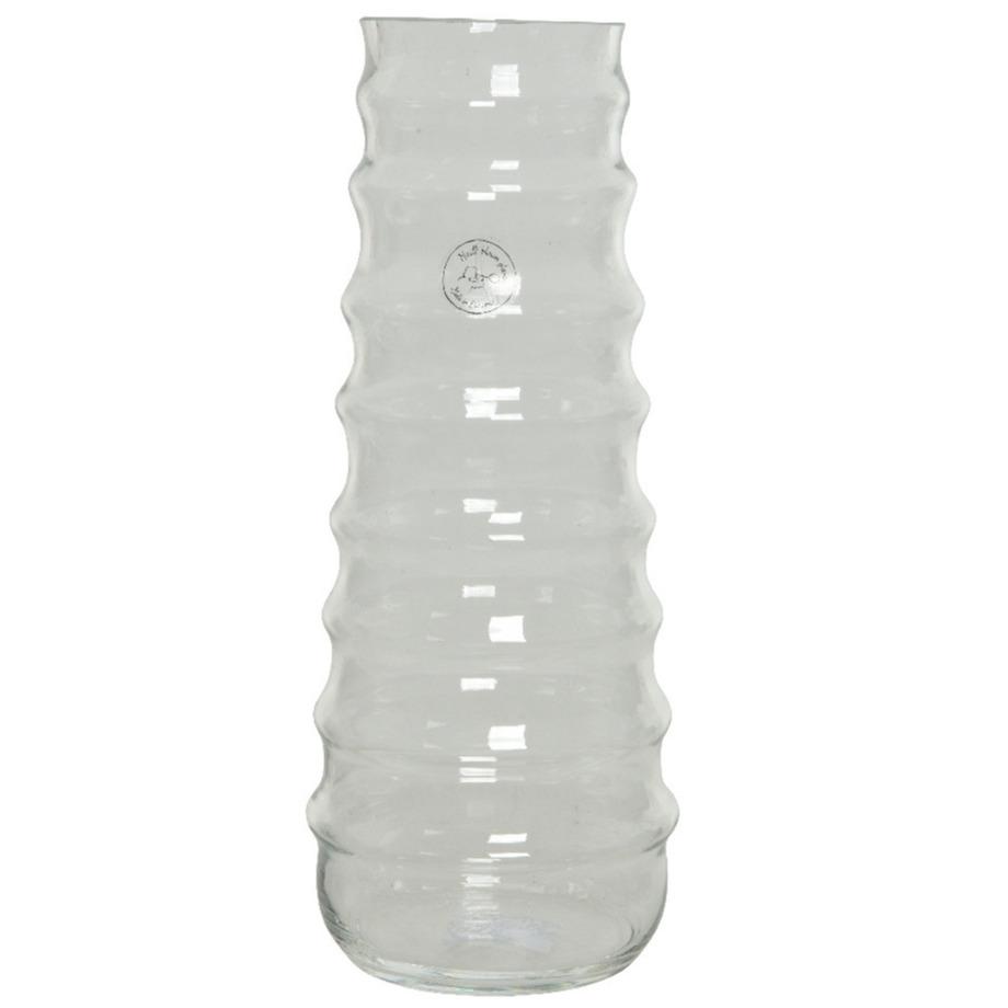 Handgemaakte vazen/bloemenvazen ribbel 6 liter van glas 15 x 35 cm -