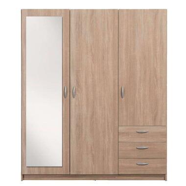 Kledingkast Varia 3-deurs inclusief spiegel - licht eiken - 175x146x50 cm - Leen Bakker