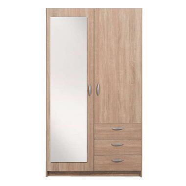 Kledingkast Varia 2-deurs inclusief spiegel - licht eiken - 175x97x50 cm - Leen Bakker