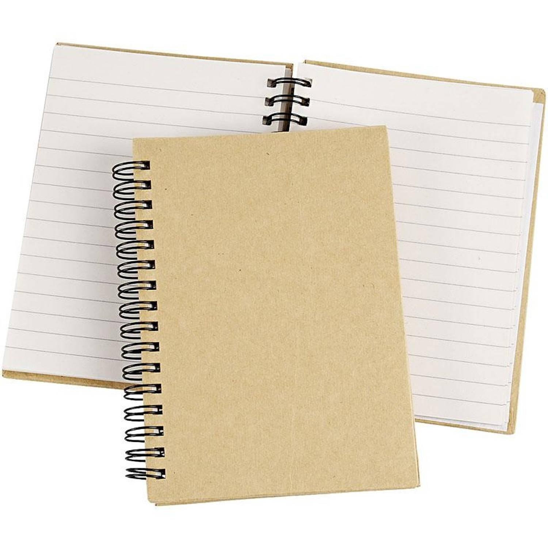 Creotime Notitieboek Spiraal Gebonden A6 Bruin/wit