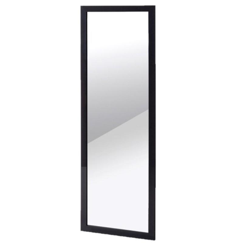 Wandspiegel/passpiegel rechthoekig met houten frame zwart 30 x 90 cm -