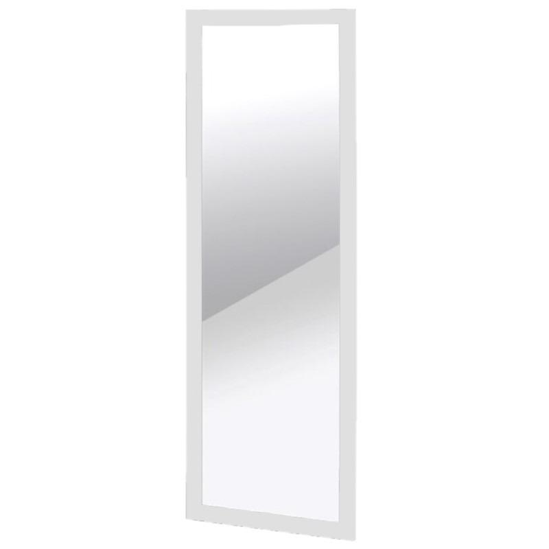 Wandspiegel/passpiegel rechthoekig met houten frame wit 30 x 90 cm -
