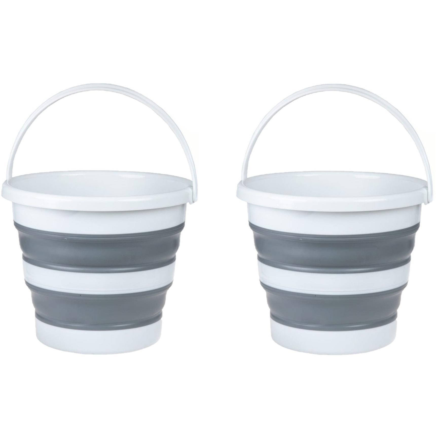 2x Stuks opvouwbare emmers wit/grijs 22 liter -