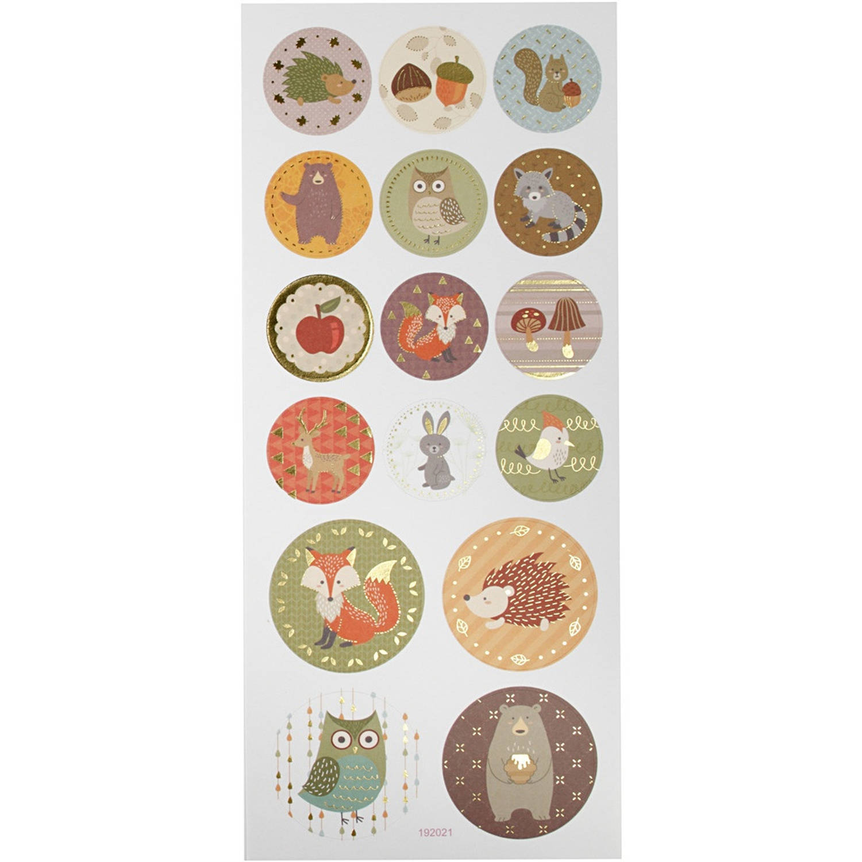 Creotime Stickervel Bosdieren 23 X 10 Cm 16 Stuks