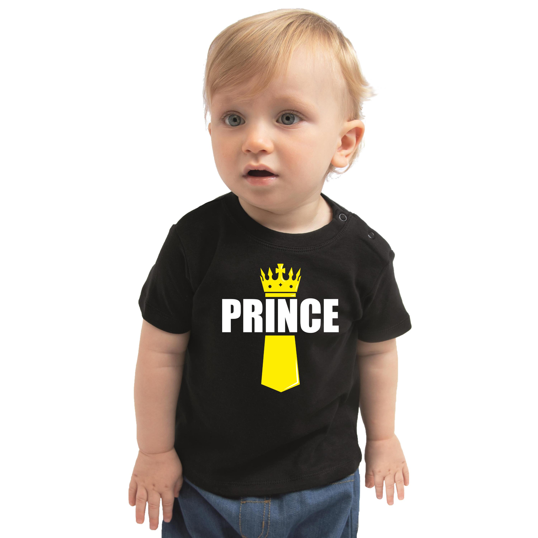 Koningsdag t-shirt Prince met kroontje zwart voor peuters 98 (13-36 maanden) -