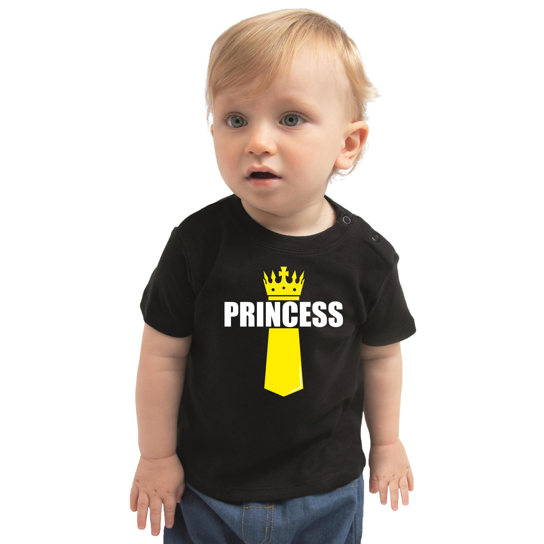 Koningsdag t-shirt Princess met kroontje zwart voor peuters 92 (11-24 maanden) -