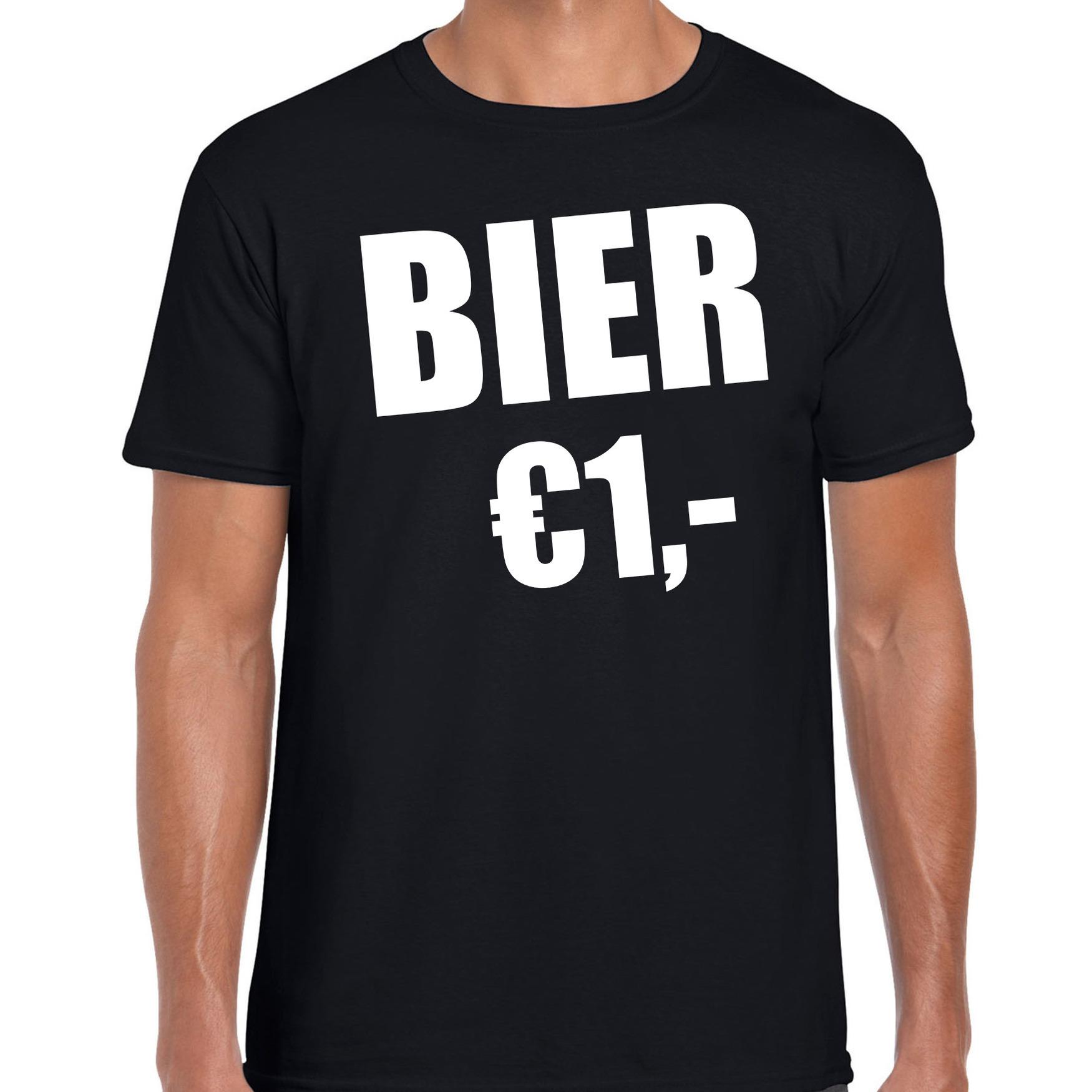 Fun t-shirt bier 1 euro zwart voor heren L -
