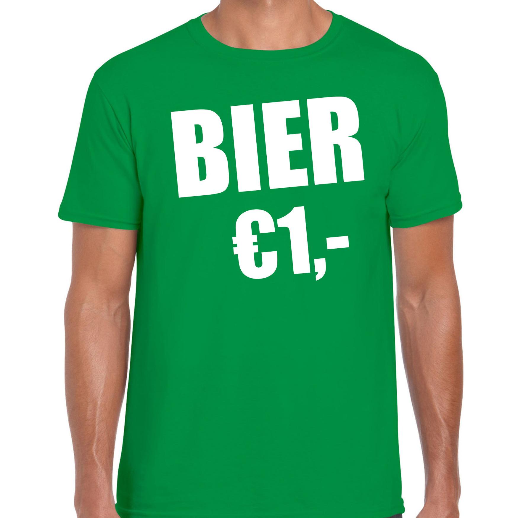 Fun t-shirt bier 1 euro groen voor heren L -