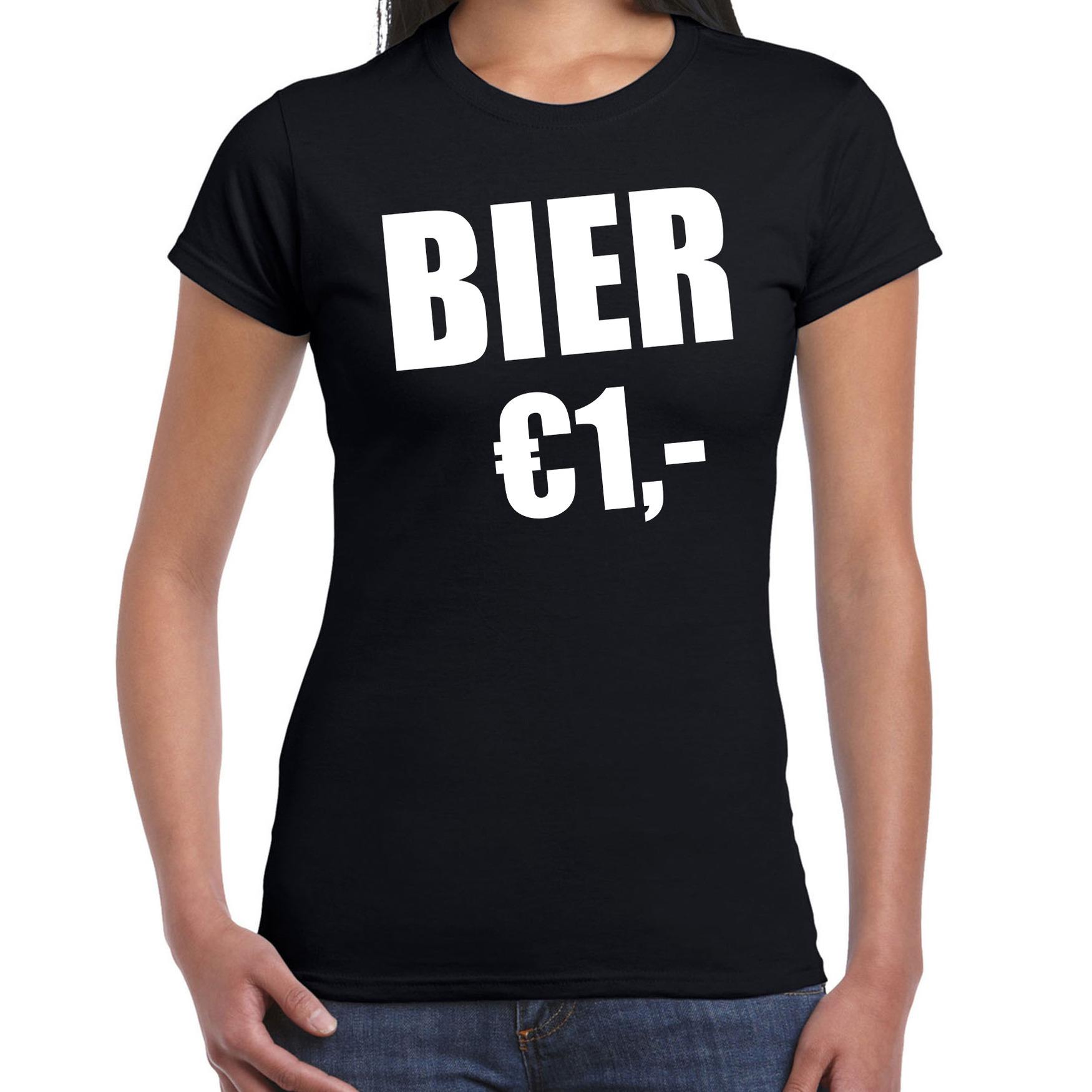 Fun t-shirt bier 1 euro zwart voor dames XL -