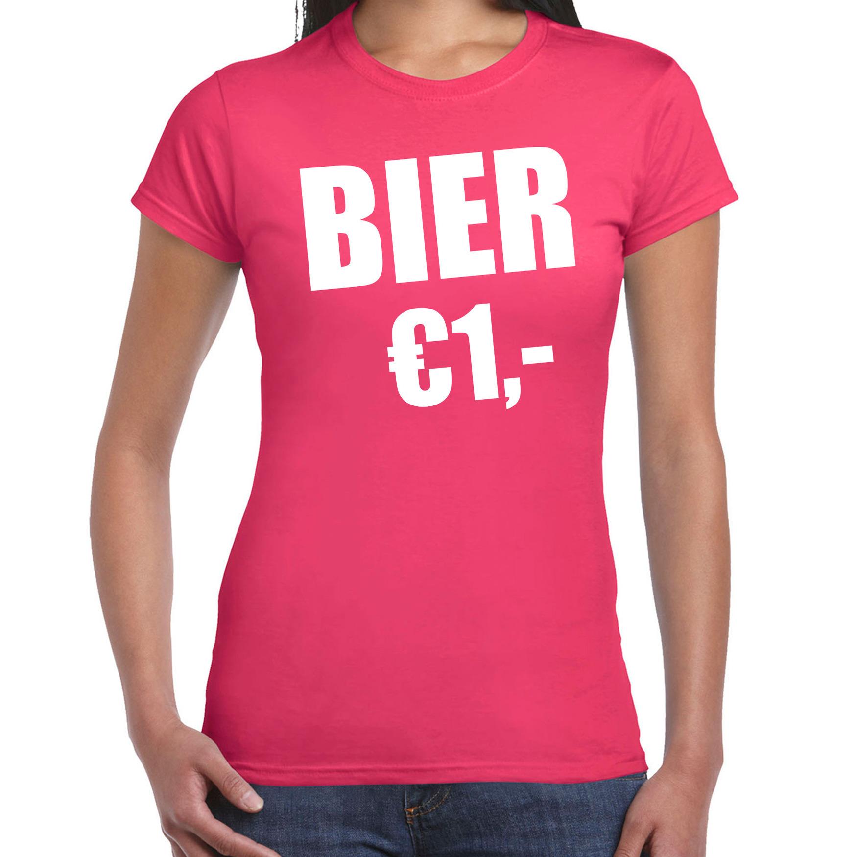 Fun t-shirt bier 1 euro roze voor dames XL -