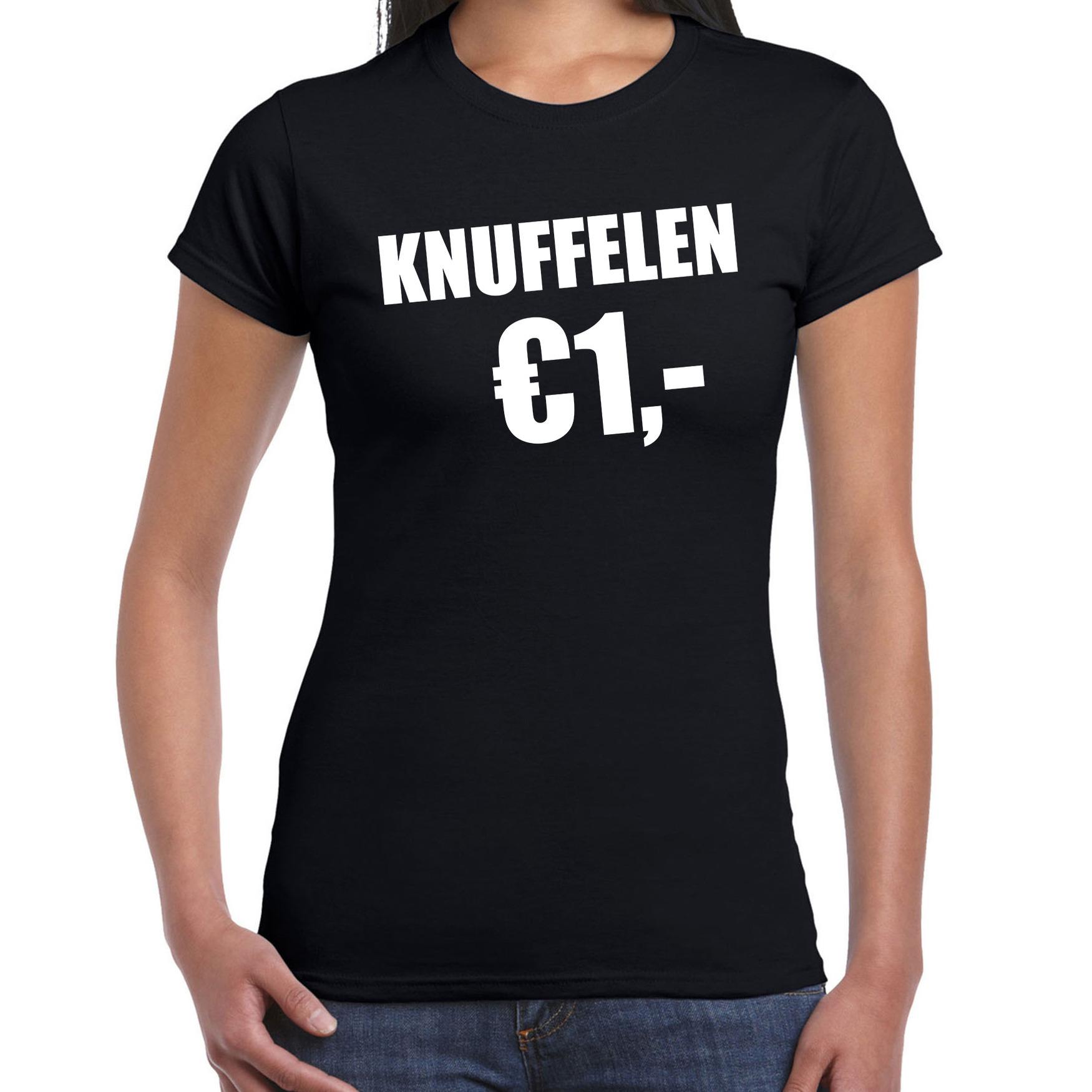 Fun t-shirt knuffelen 1 euro zwart voor dames XL -