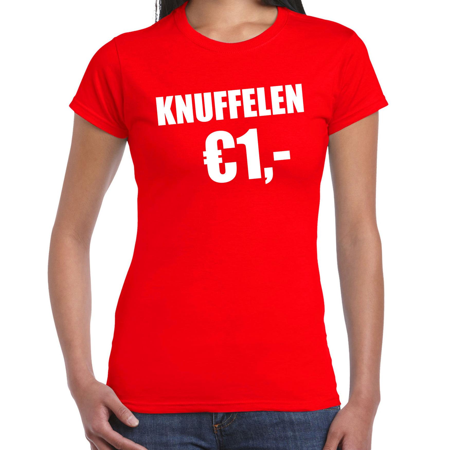 Fun t-shirt knuffelen 1 euro rood voor dames XS -