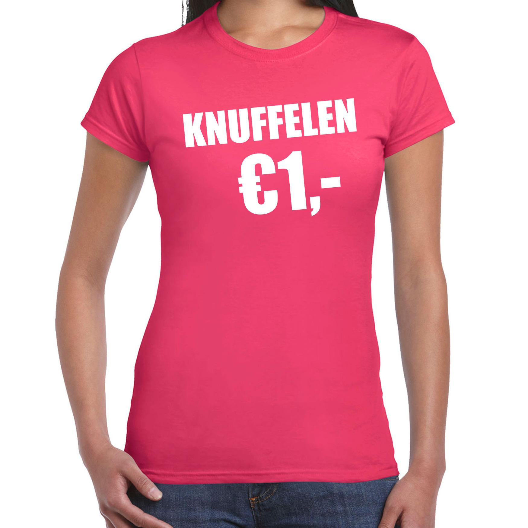 Fun t-shirt knuffelen 1 euro roze voor dames S -