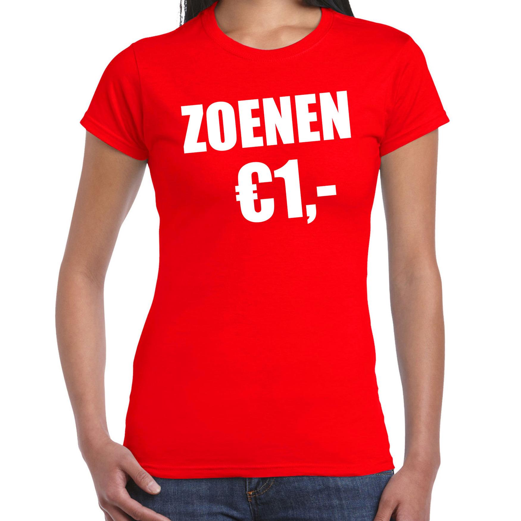 Fun t-shirt zoenen 1 euro rood voor dames XS -