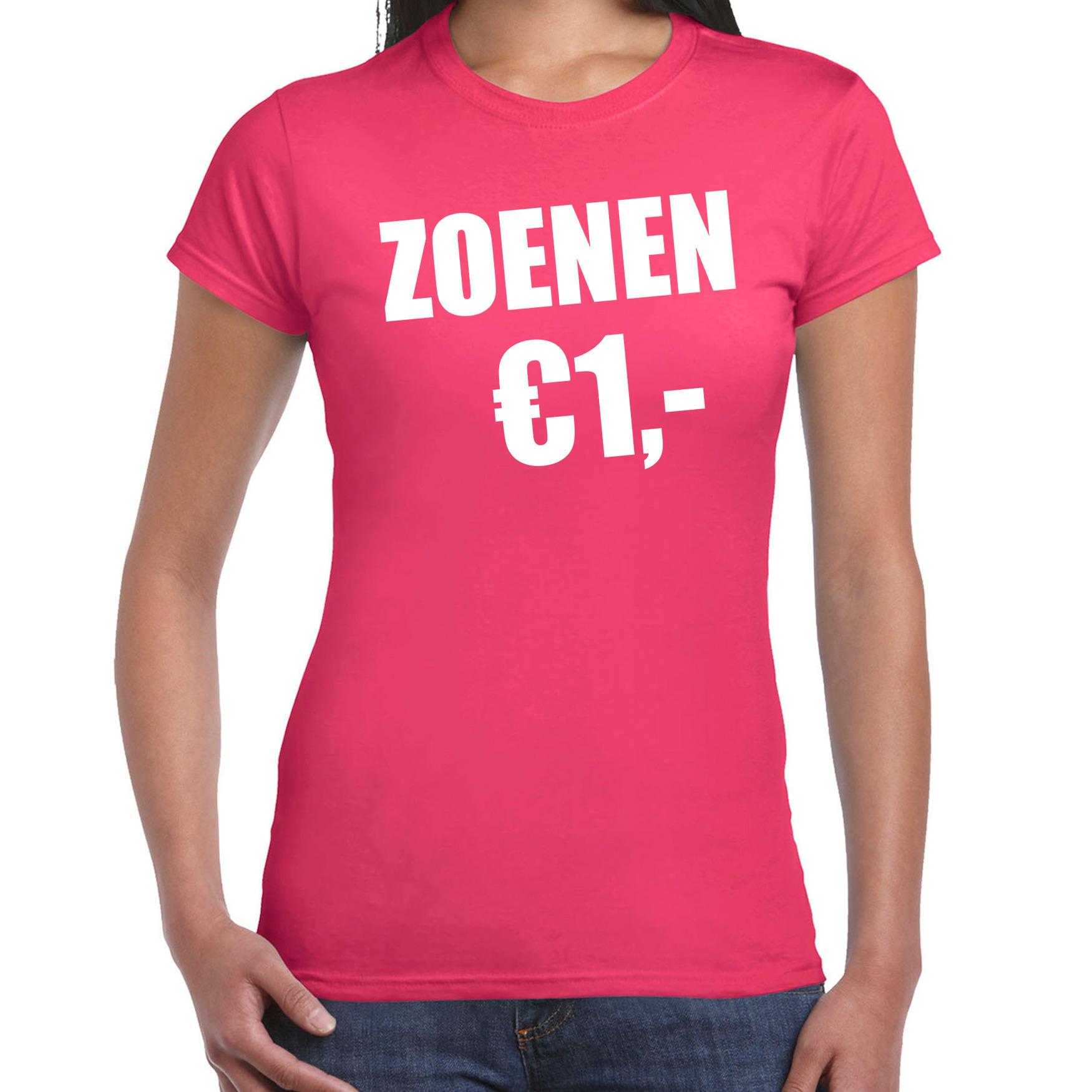 Fun t-shirt zoenen 1 euro roze voor dames XS -