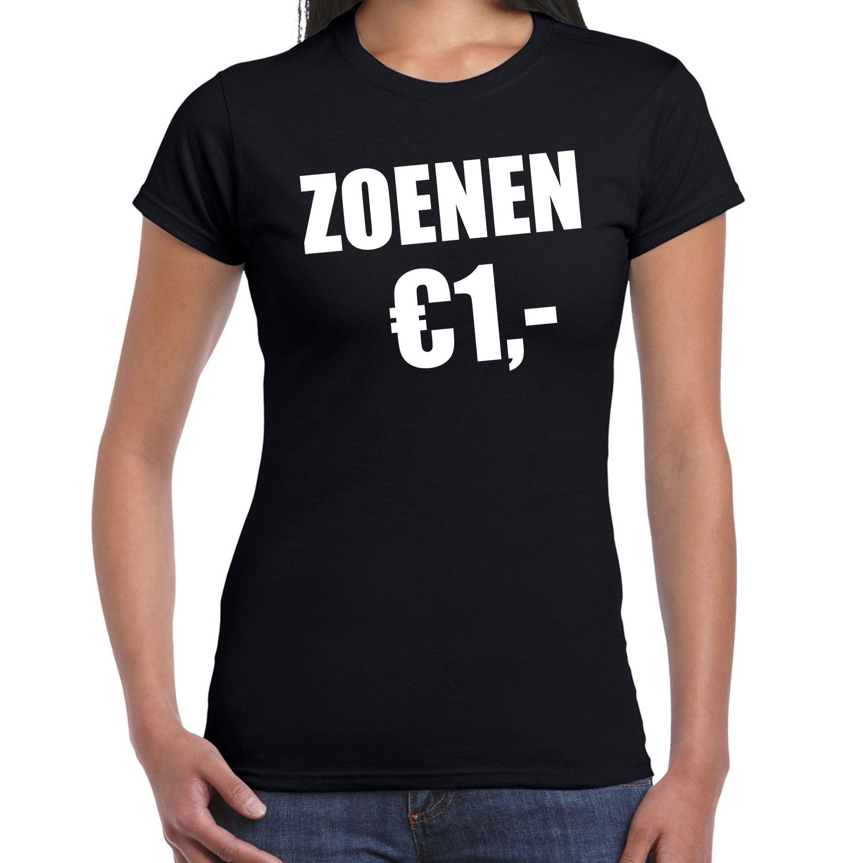 Fun t-shirt zoenen 1 euro zwart voor dames M -