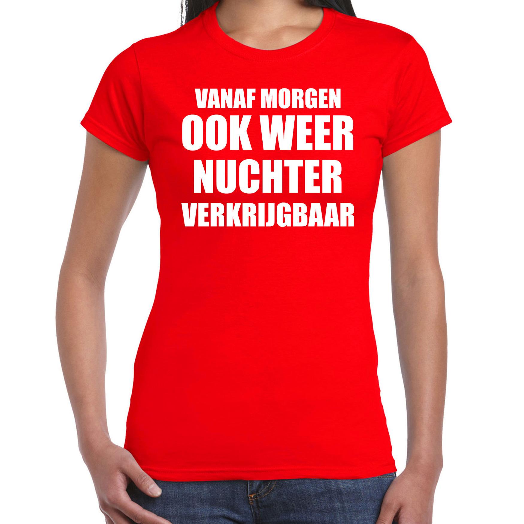 Feest t-shirt morgen nuchter verkrijgbaar rood voor dames L -