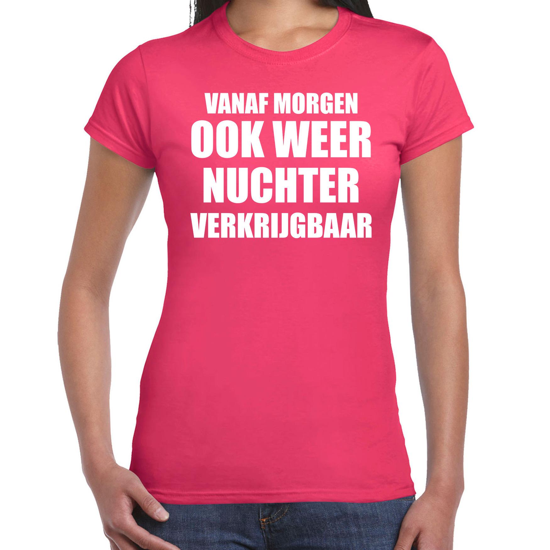 Feest t-shirt morgen nuchter verkrijgbaar roze voor dames XS -