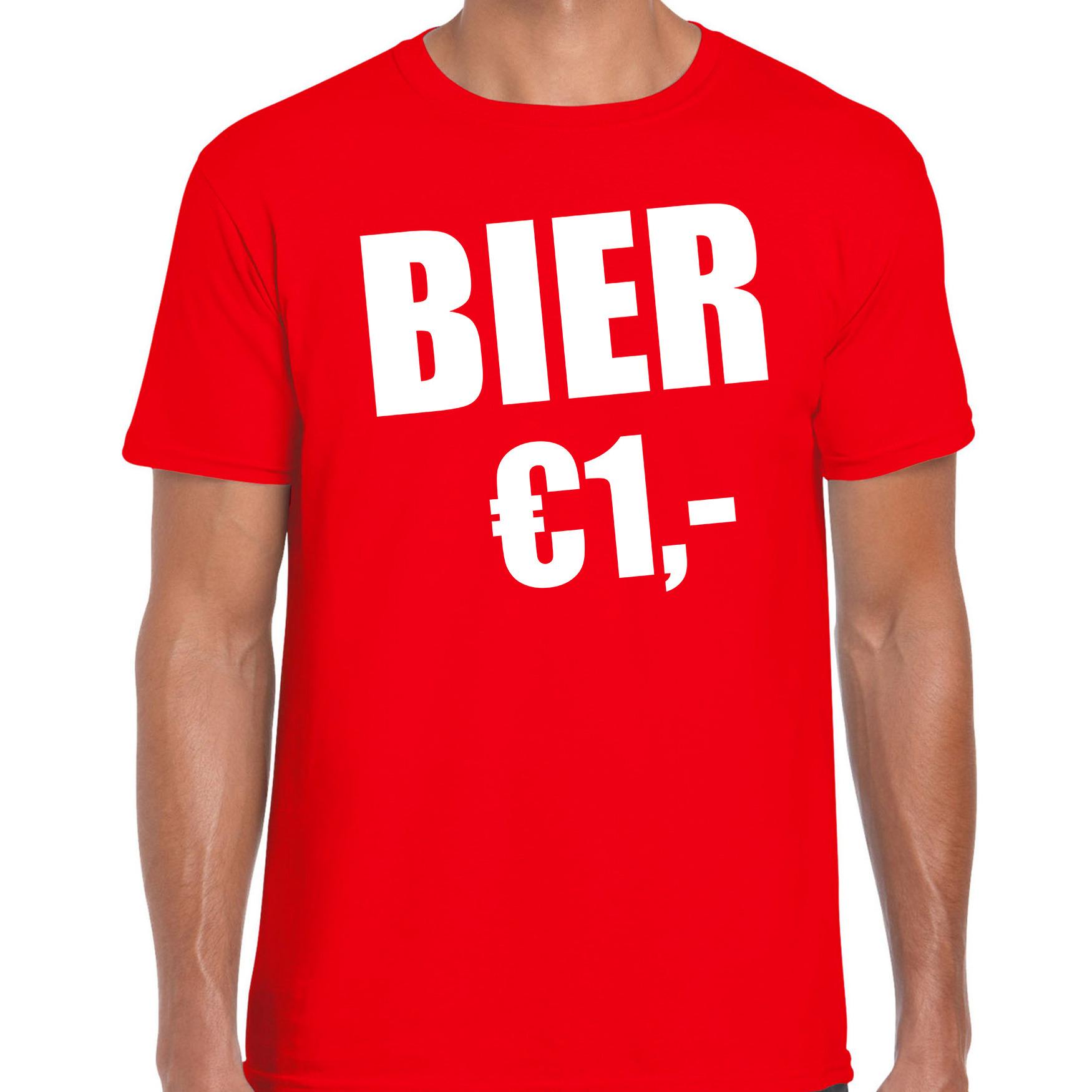 Fun t-shirt bier 1 euro rood voor heren 2XL -