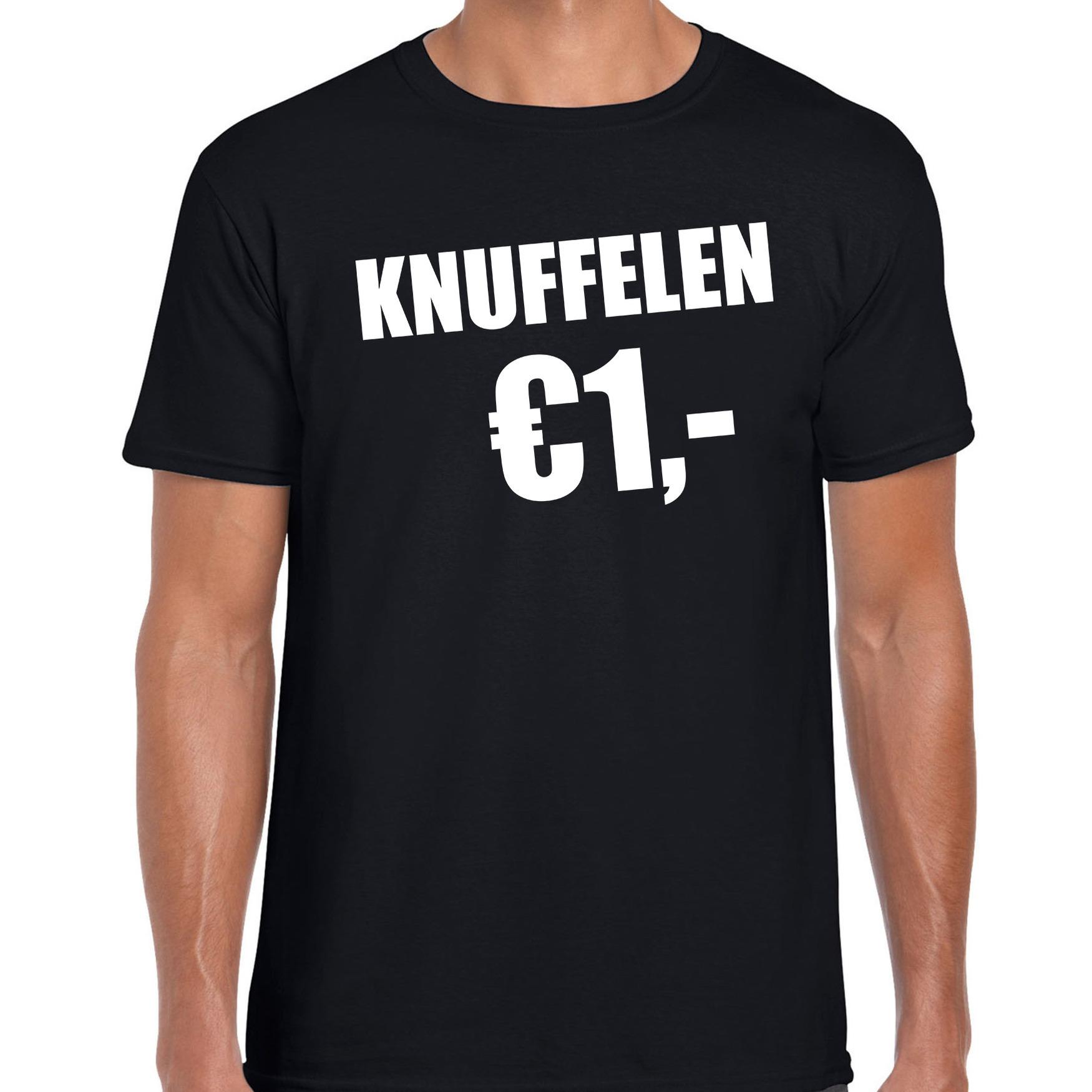 Fun t-shirt knuffelen 1 euro zwart voor heren M -