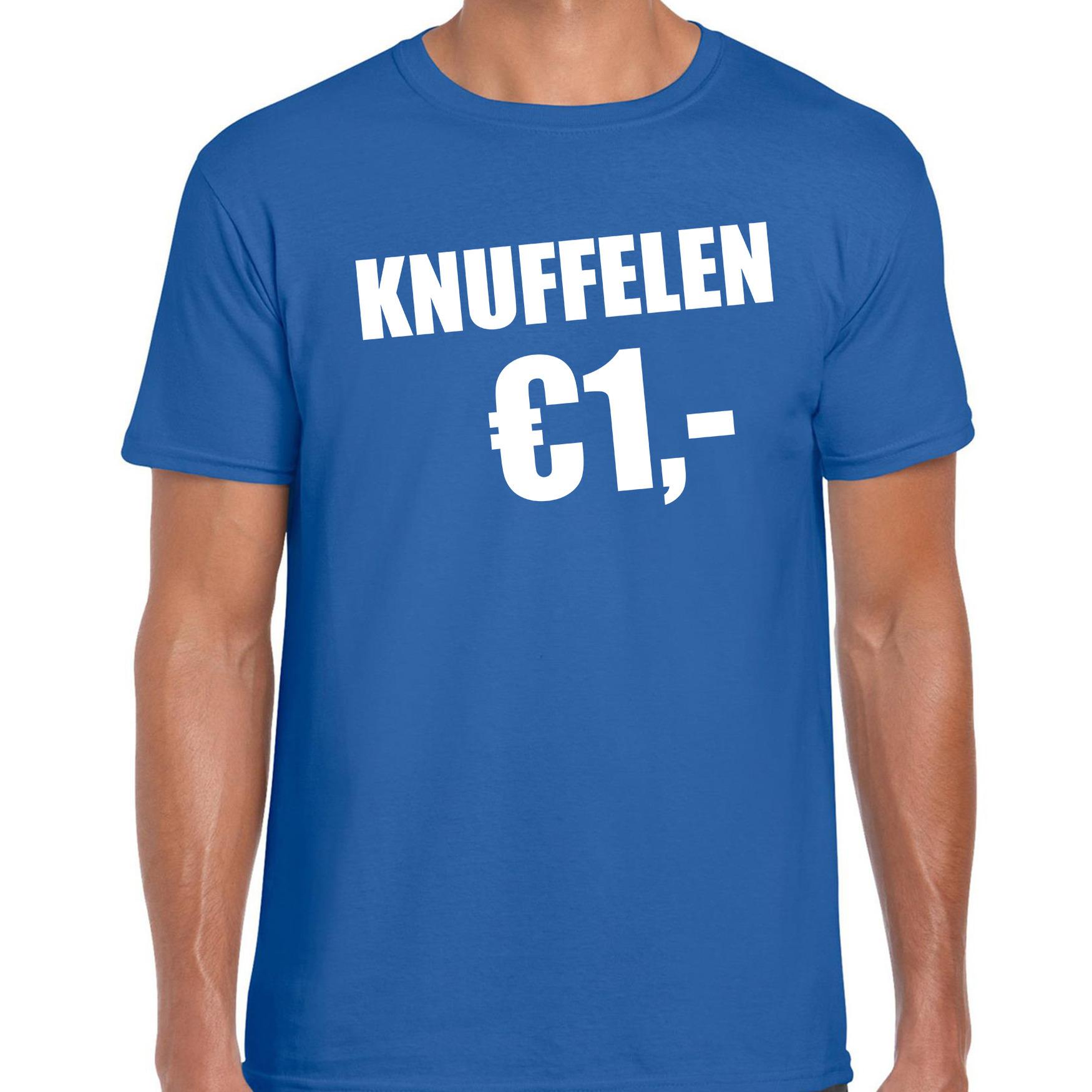 Fun t-shirt knuffelen 1 euro blauw voor heren M -