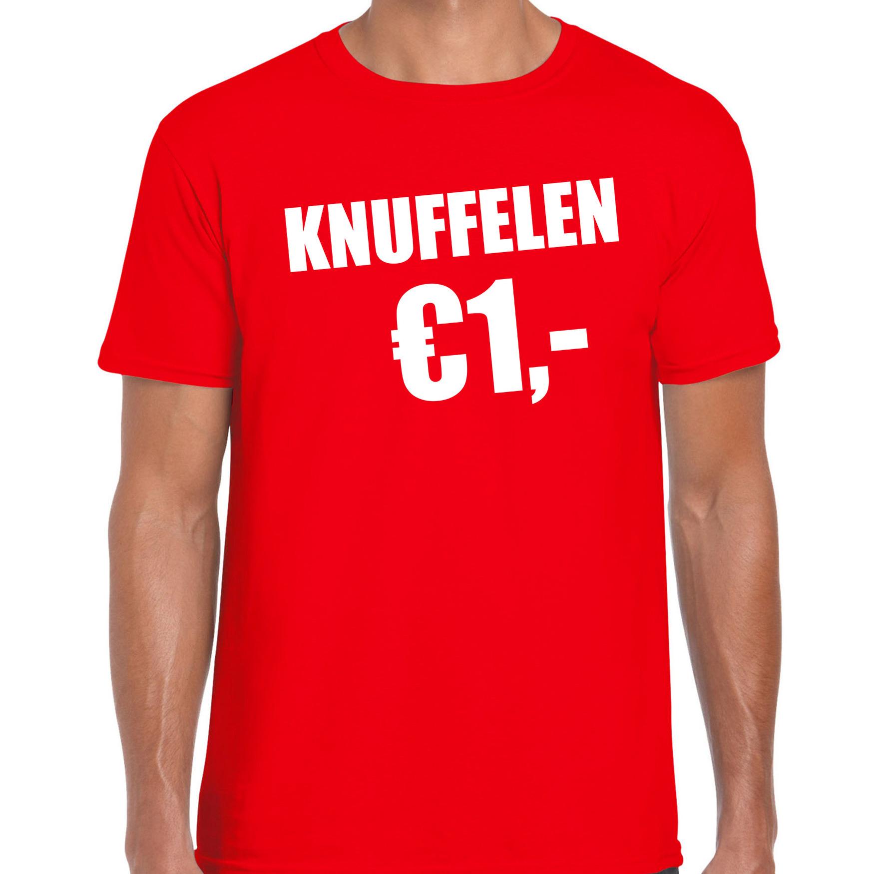 Fun t-shirt knuffelen 1 euro rood voor heren S -