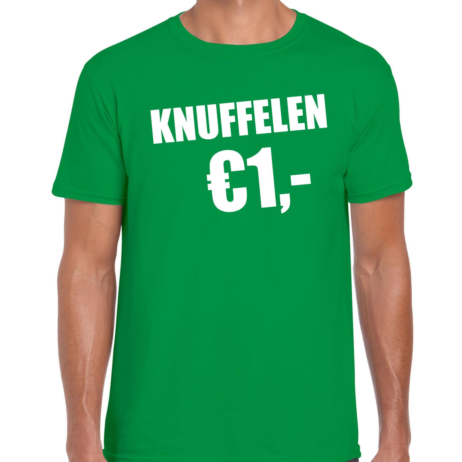 Fun t-shirt knuffelen 1 euro groen voor heren 2XL -