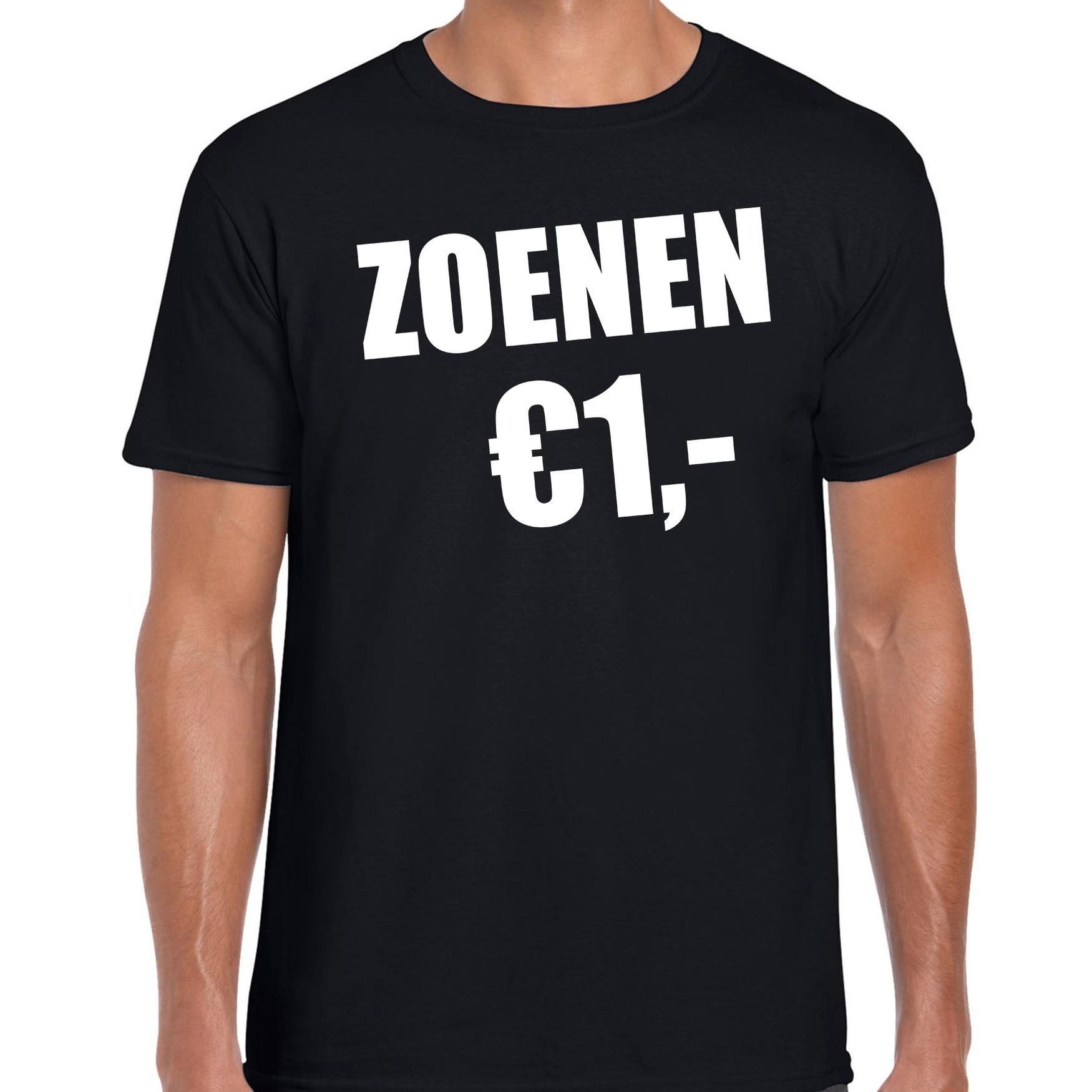 Fun t-shirt zoenen 1 euro zwart voor heren M -