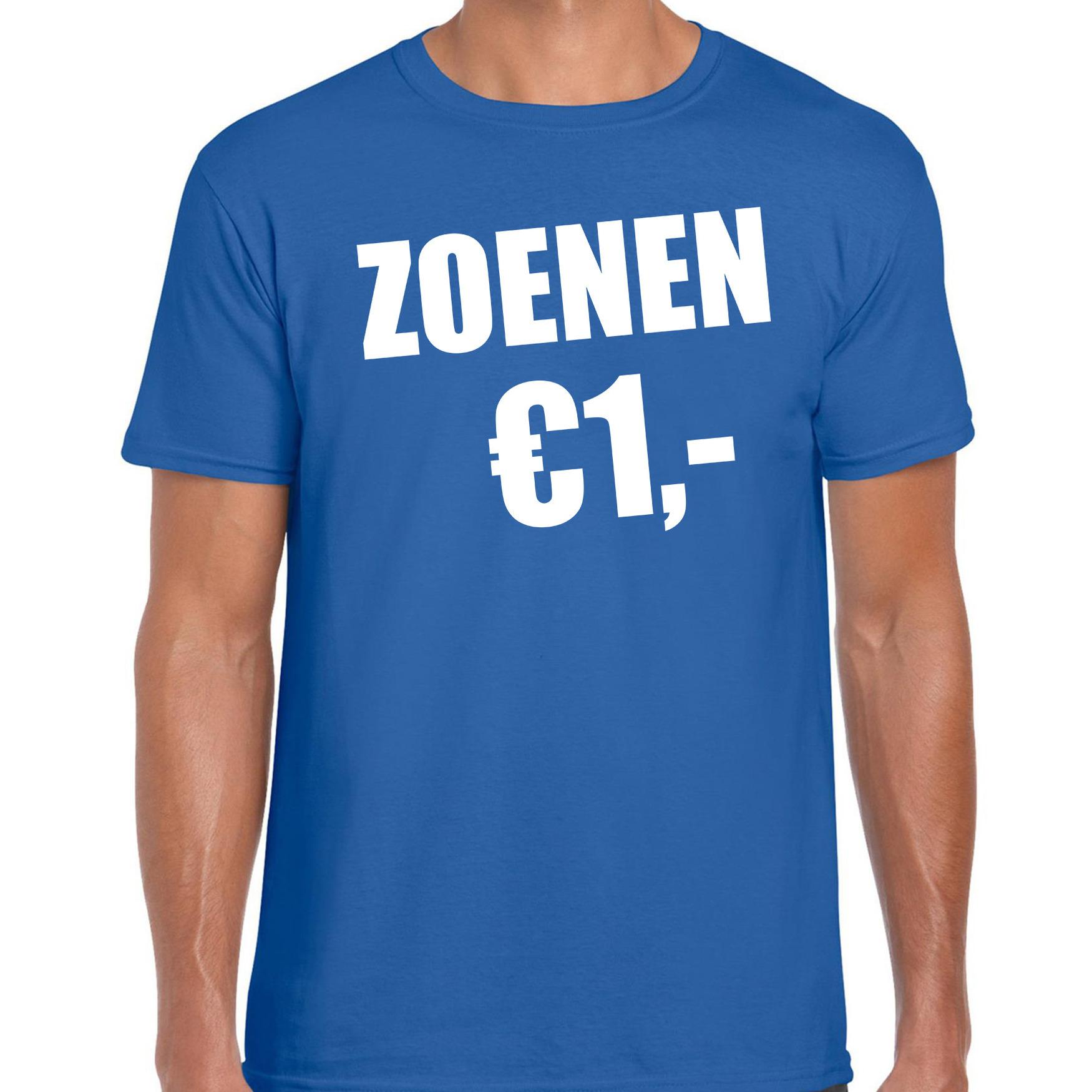 Fun t-shirt zoenen 1 euro blauw voor heren S -