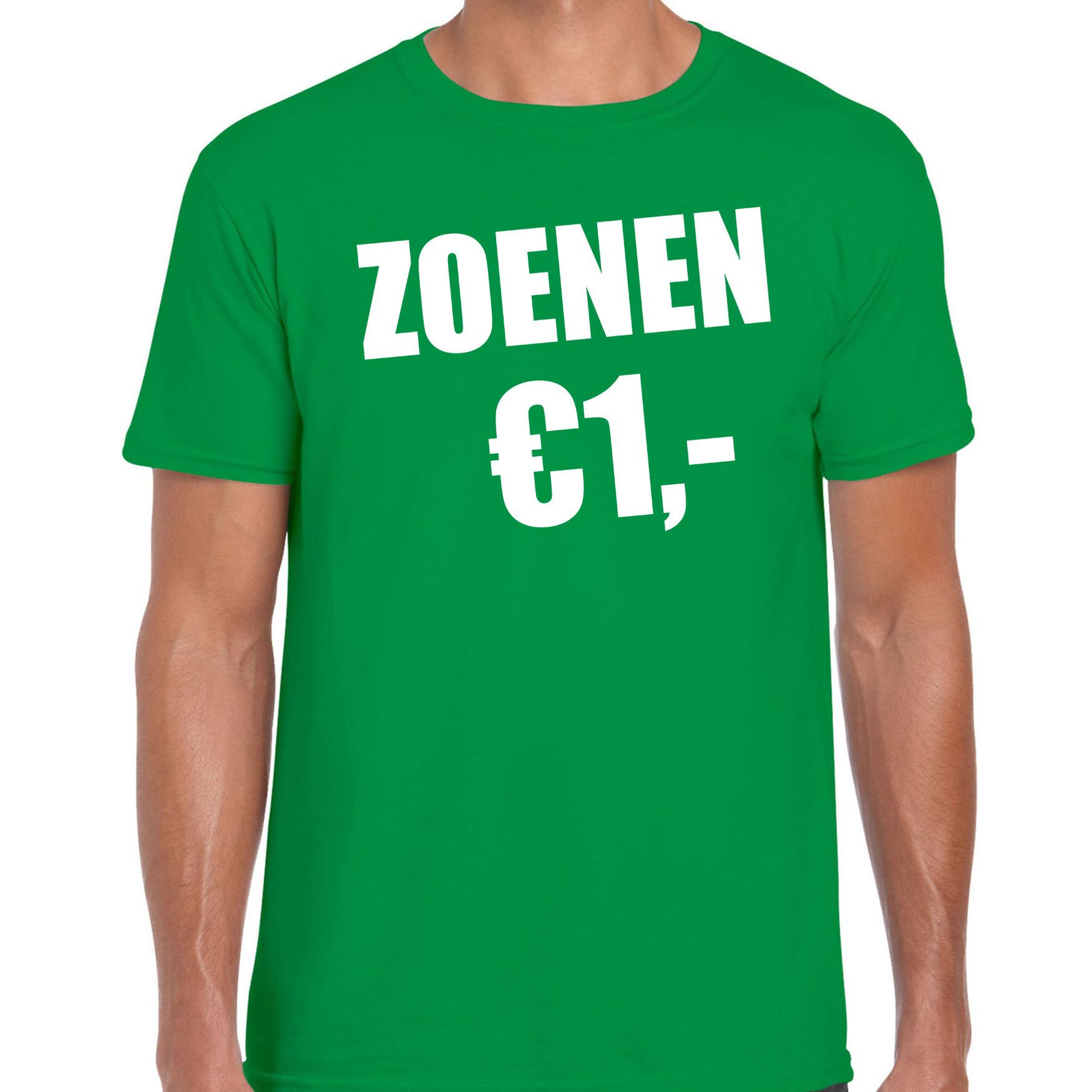Fun t-shirt zoenen 1 euro groen voor heren 2XL -