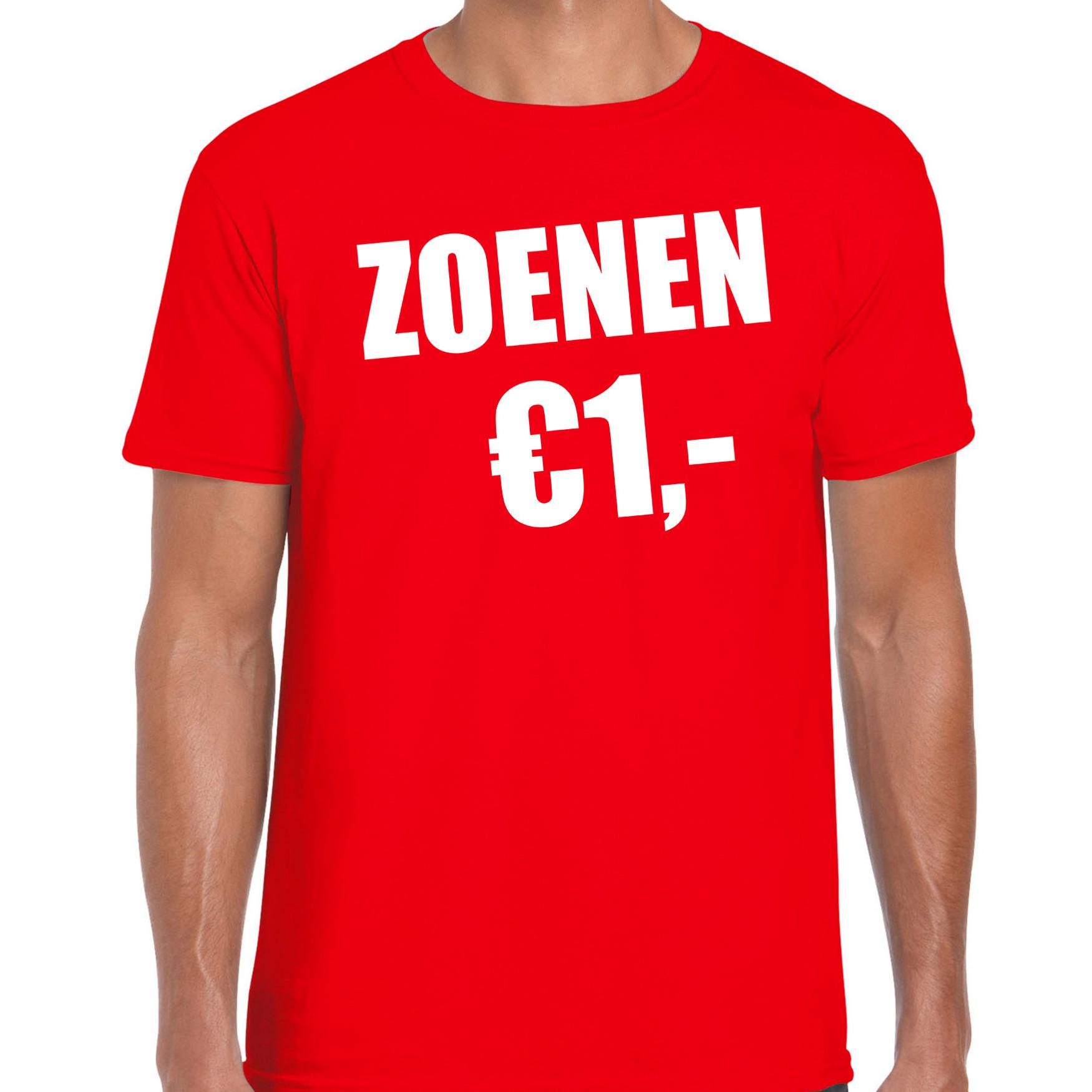 Fun t-shirt zoenen 1 euro rood voor heren L -