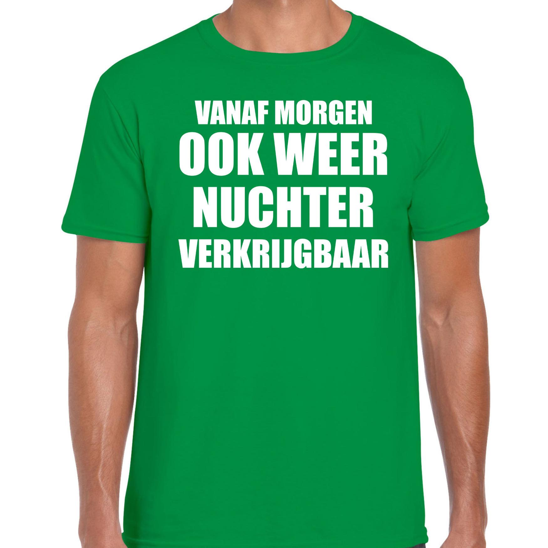 Feest t-shirt morgen nuchter verkrijgbaar groen voor heren S -