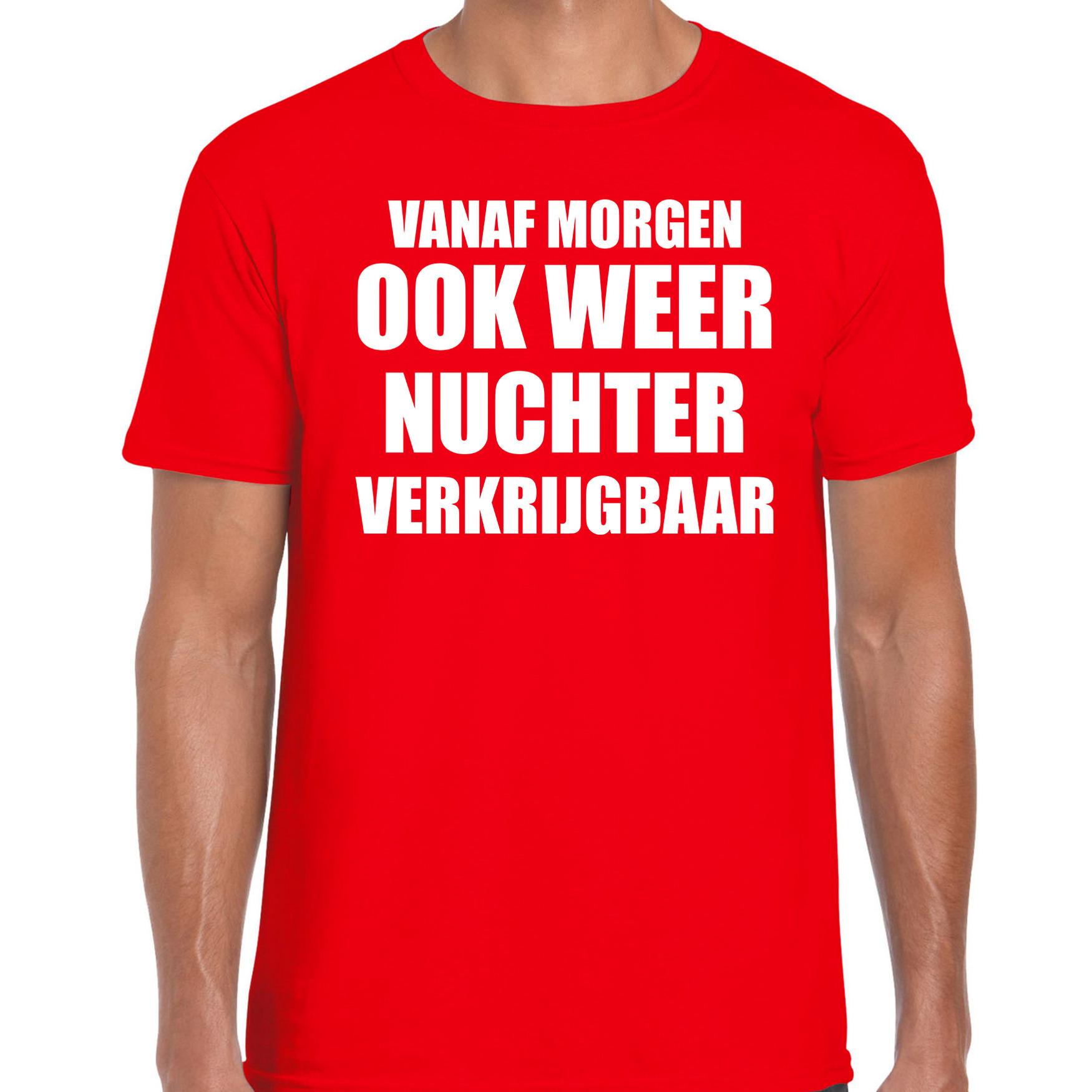 Feest t-shirt morgen nuchter verkrijgbaar rood voor heren S -