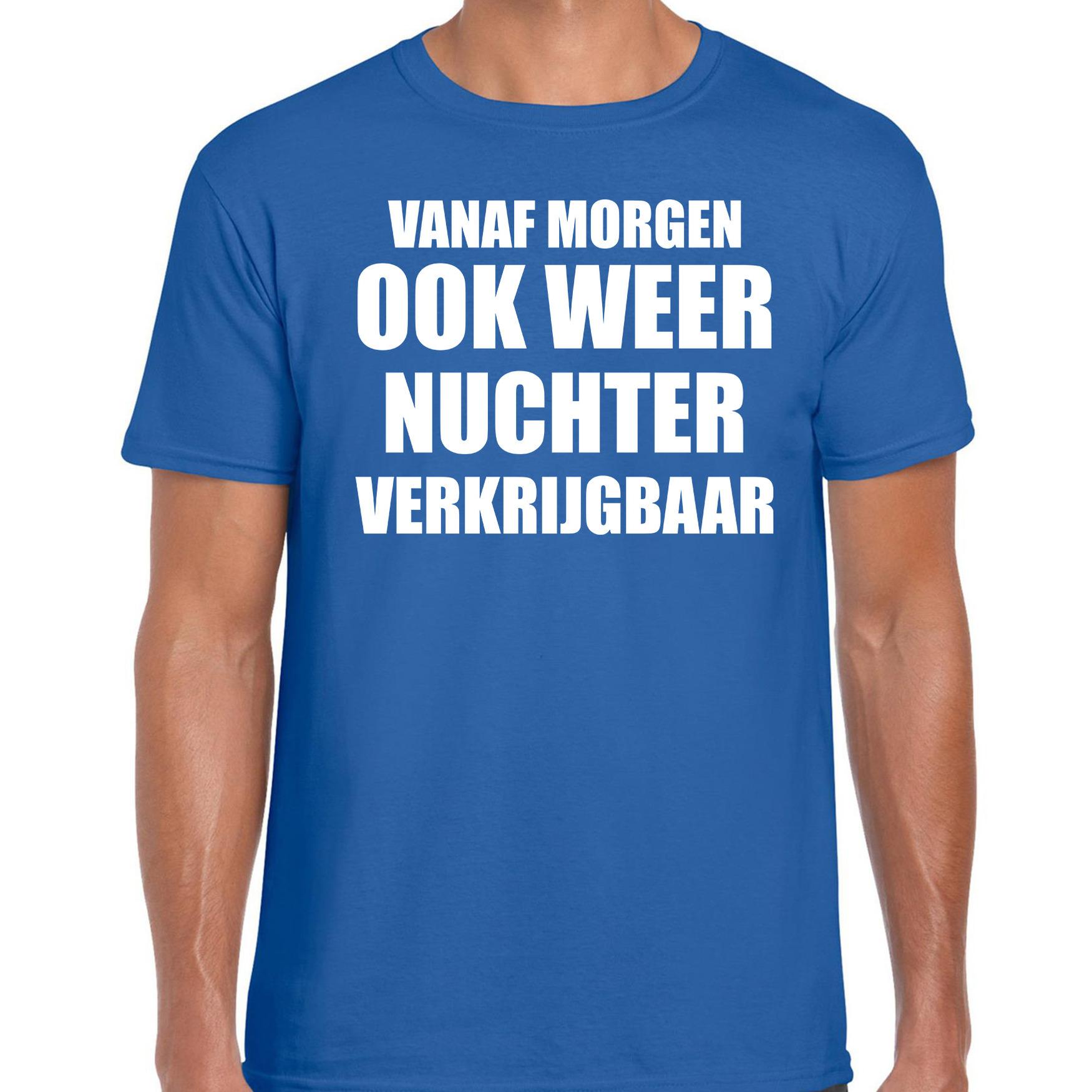 Feest t-shirt morgen nuchter verkrijgbaar blauw voor heren XL -