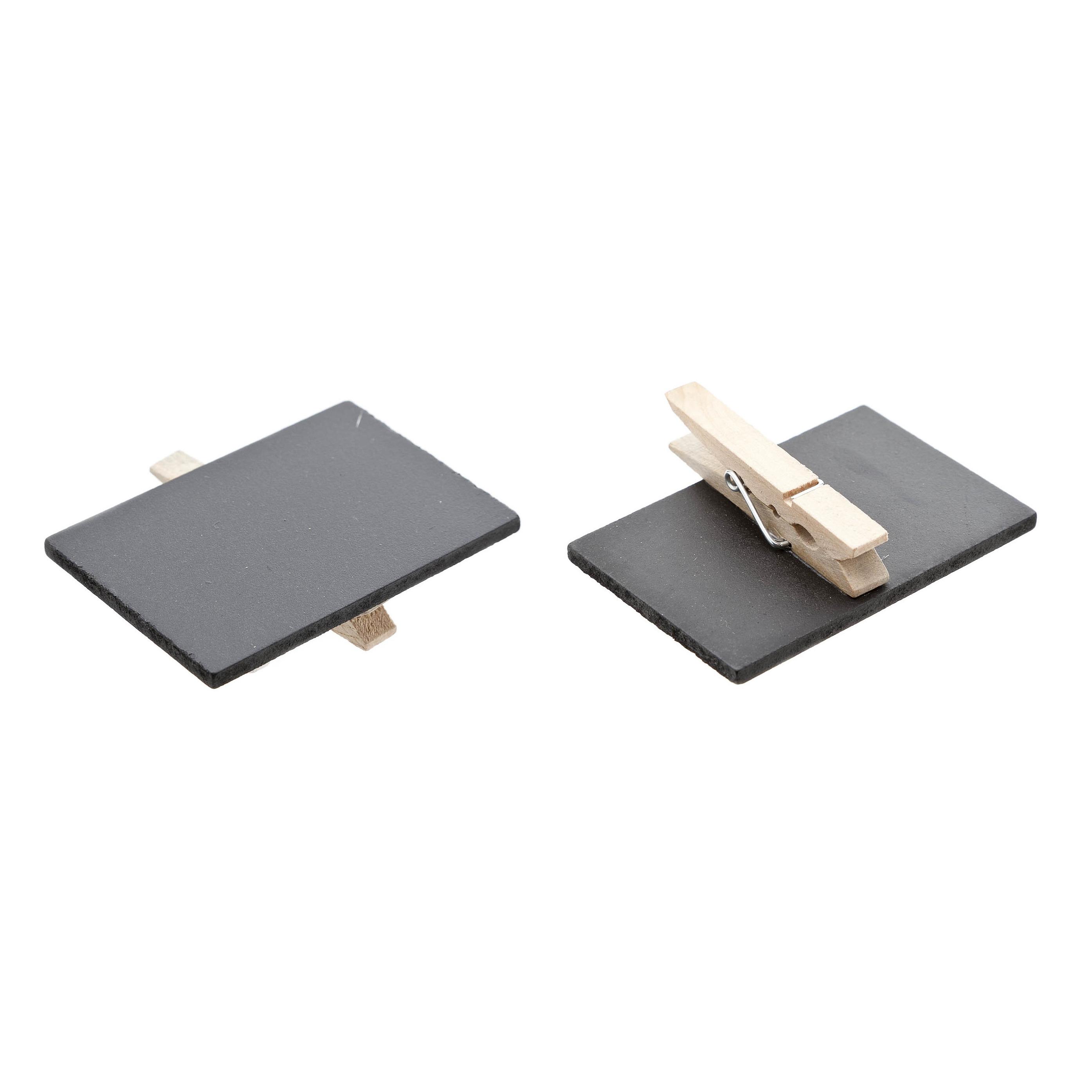 Set van 6x stuks memo krijtbordjes op houten knijper 6 x 4 cm -