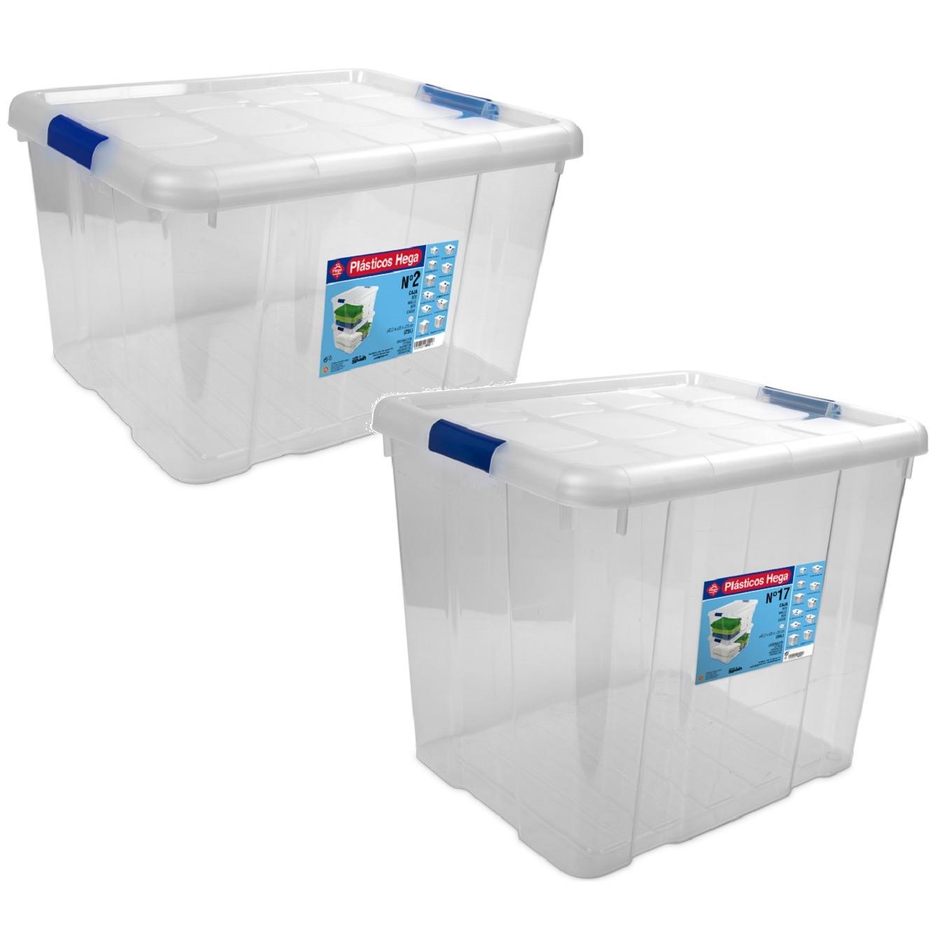 4x Opbergboxen/opbergdozen met deksel 25 en 35 liter kunststof transparant/blauw -